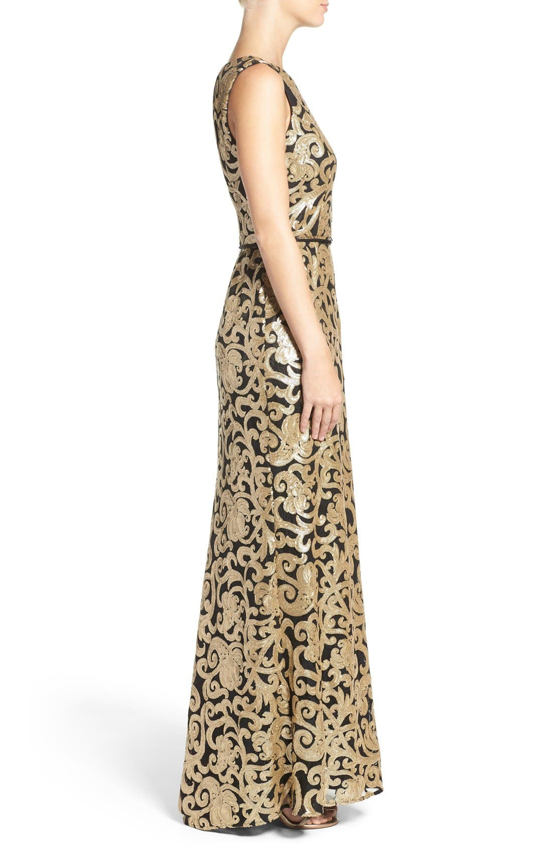 Belted Sequin Gown,                             Alternate thumbnail 3, color,