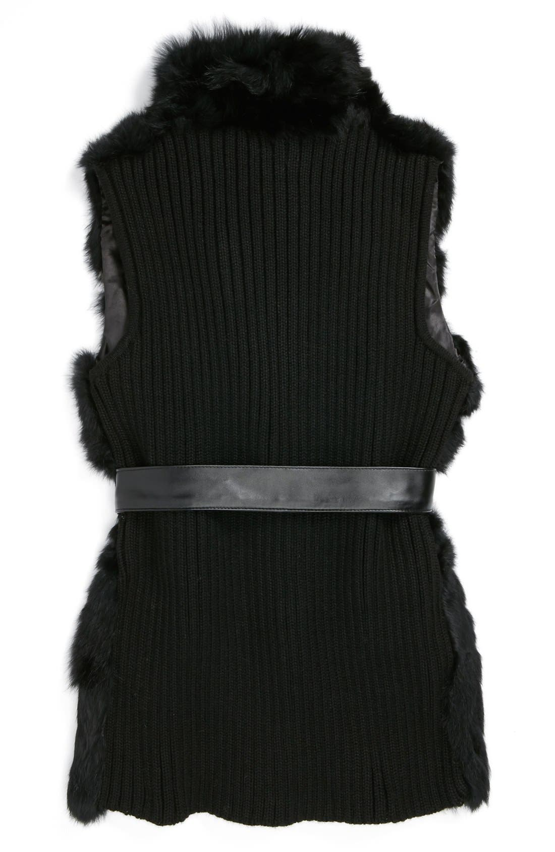 LA FIORENTINA,                             Genuine Rabbit Fur Vest,                             Alternate thumbnail 2, color,                             001