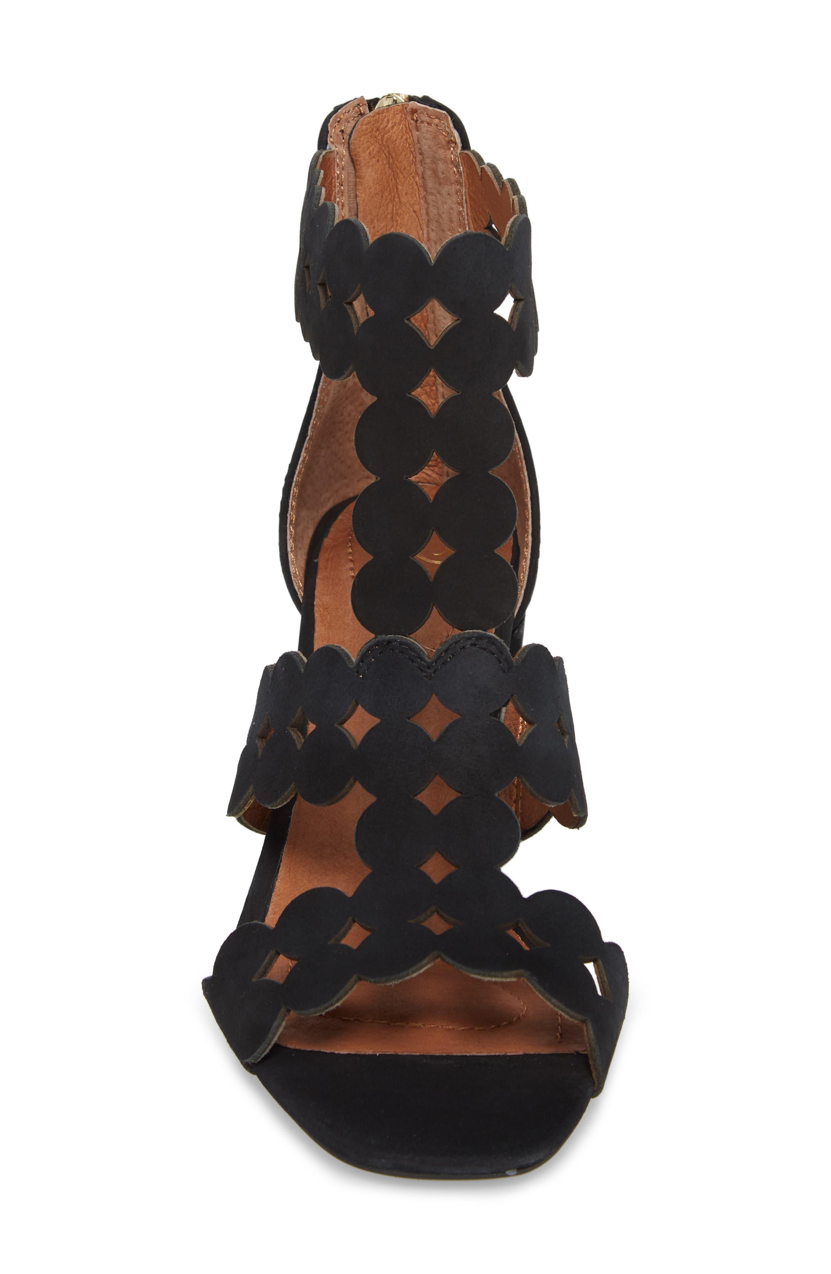 SUDINI,                             Novara Block Heel Sandal,                             Alternate thumbnail 4, color,                             BLACK NUBUCK LEATHER