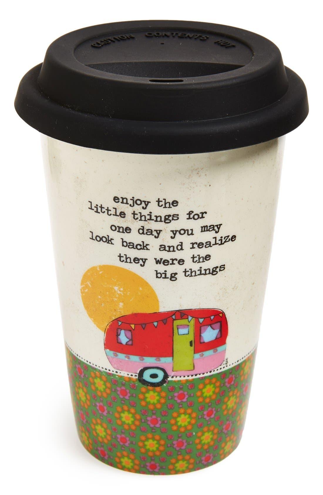 'Enjoy the Little Things' Ceramic Travel Mug, Main, color, 960