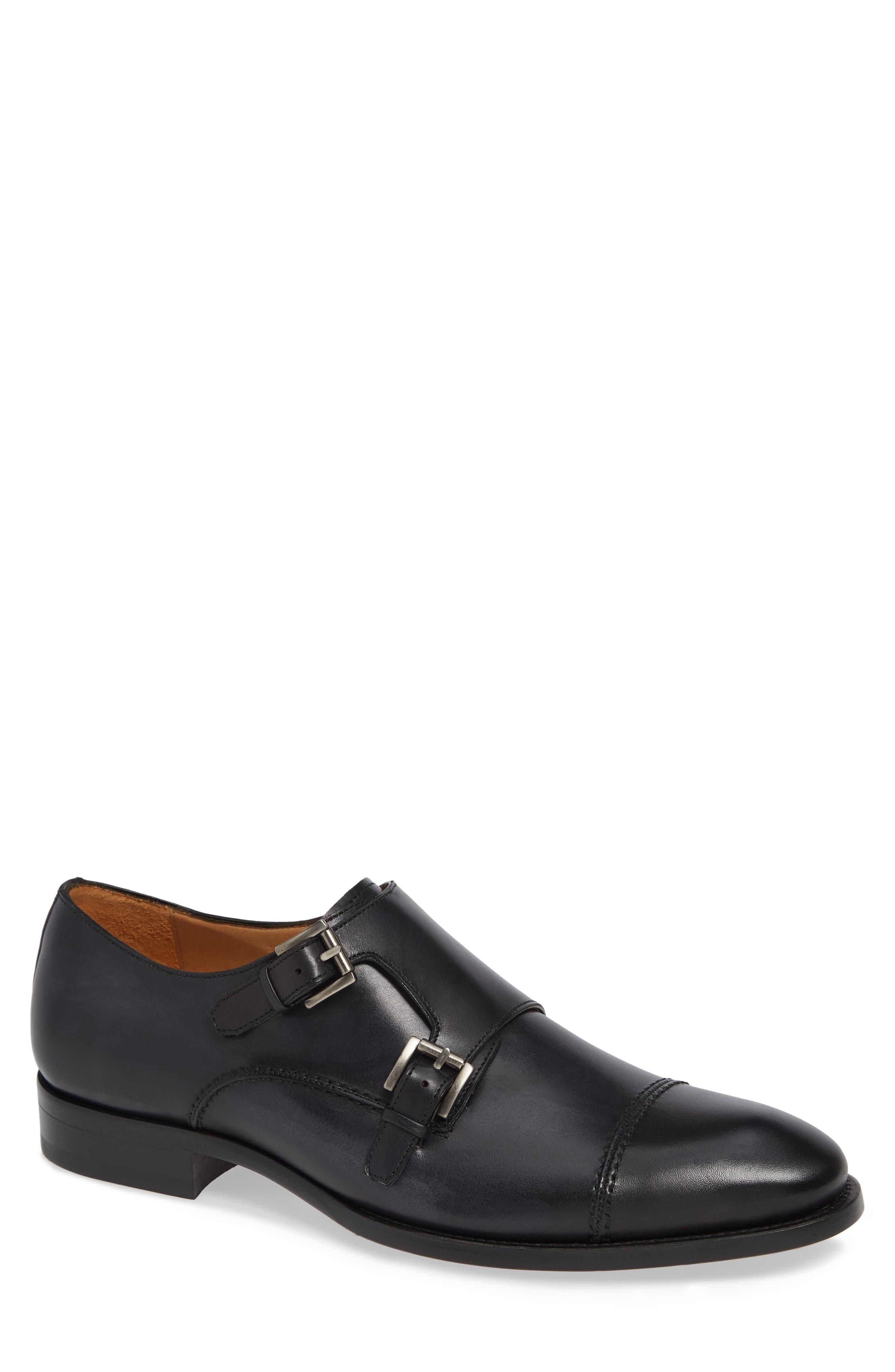 Acosta Double Strap Cap Toe Monk Shoe,                             Main thumbnail 1, color,                             BLACK LEATHER
