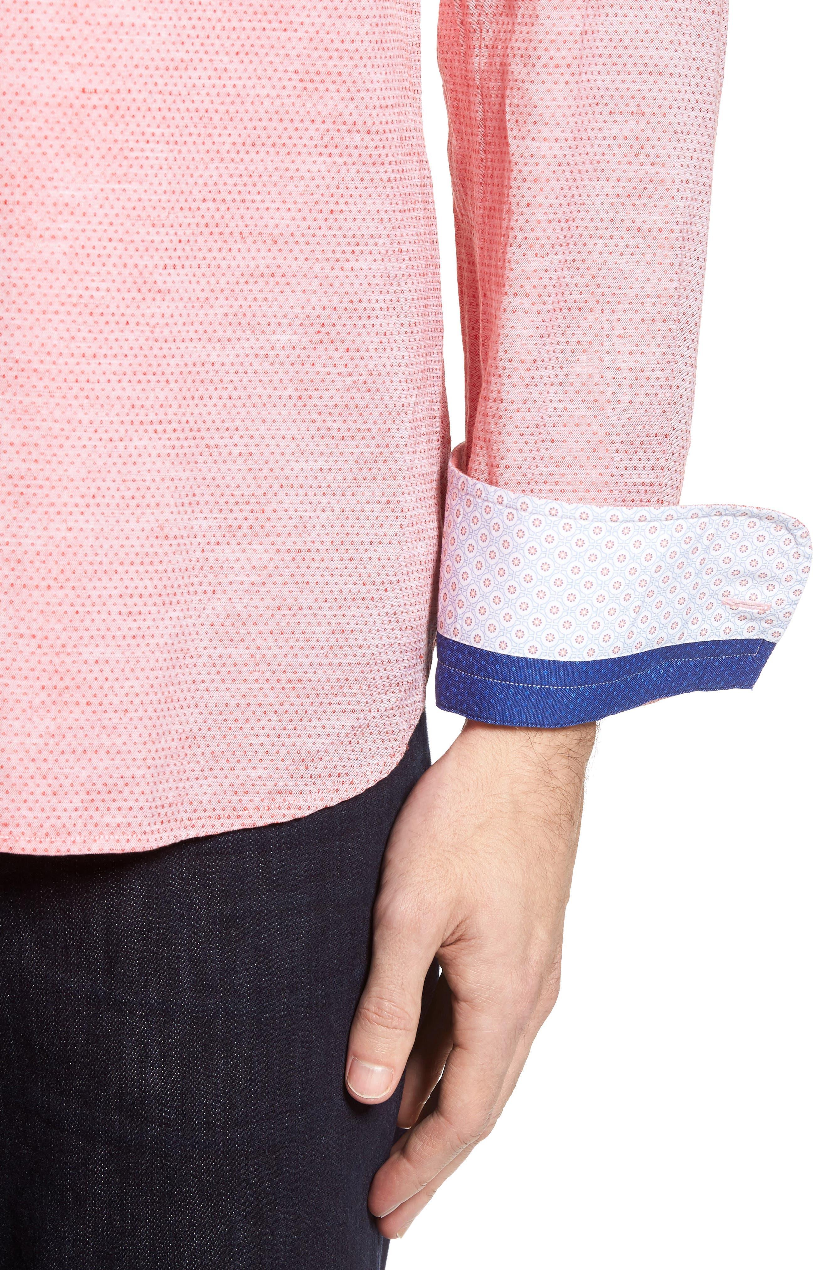 Dobby Cotton & Linen Sport Shirt,                             Alternate thumbnail 16, color,