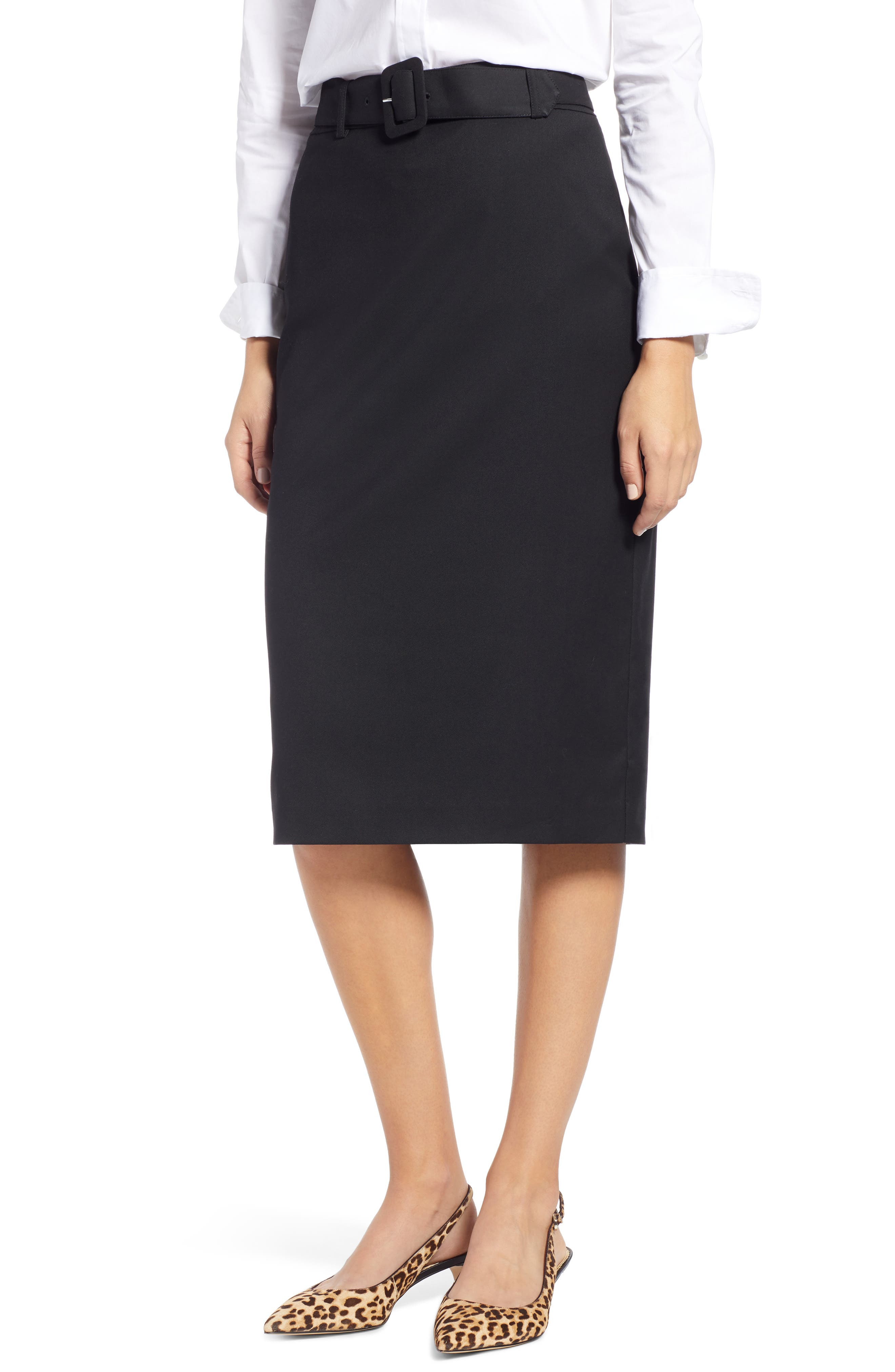 Belted Pencil Skirt,                             Main thumbnail 1, color,                             001