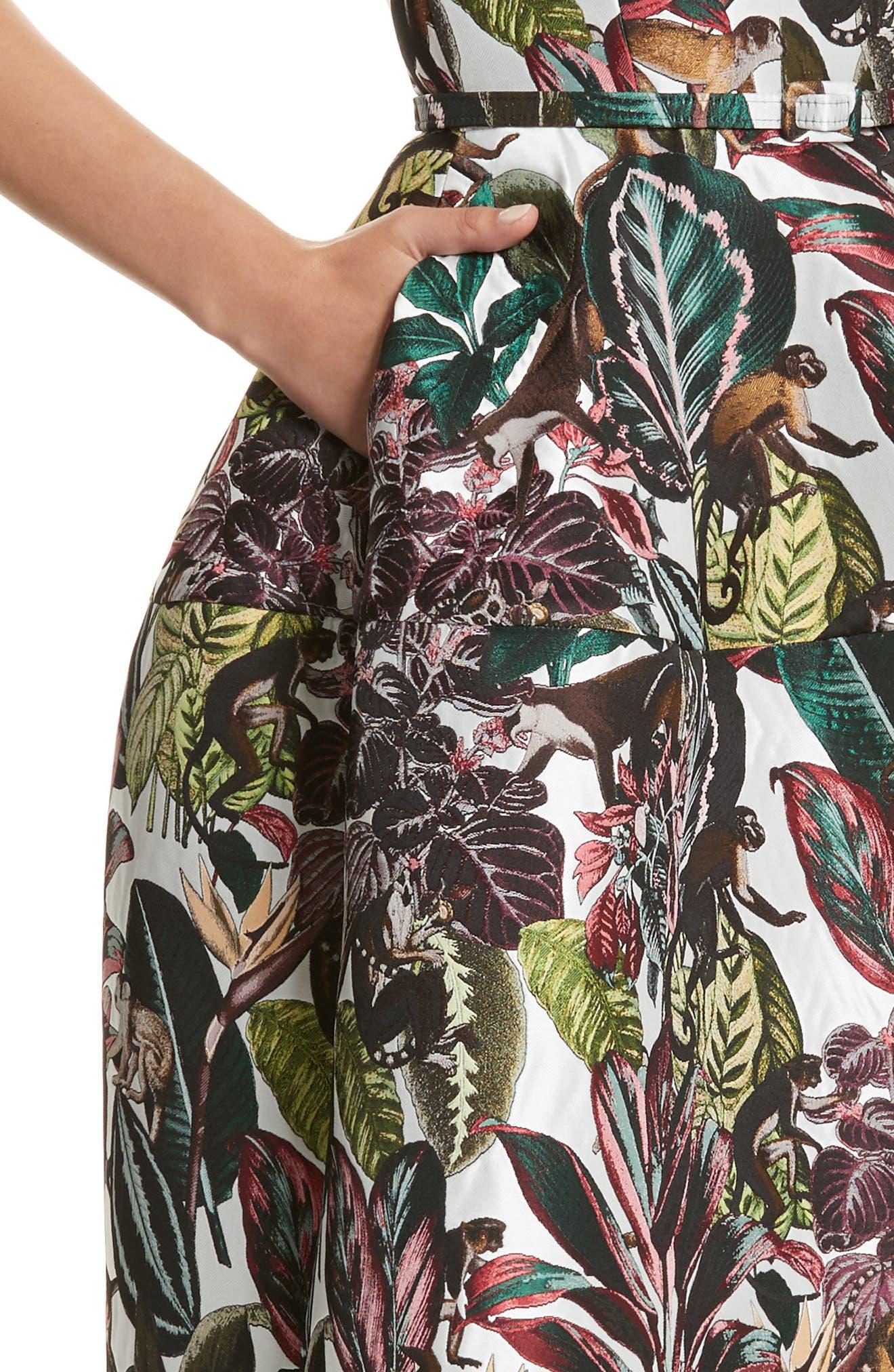 Jungle Jacquard Dress,                             Alternate thumbnail 4, color,                             300