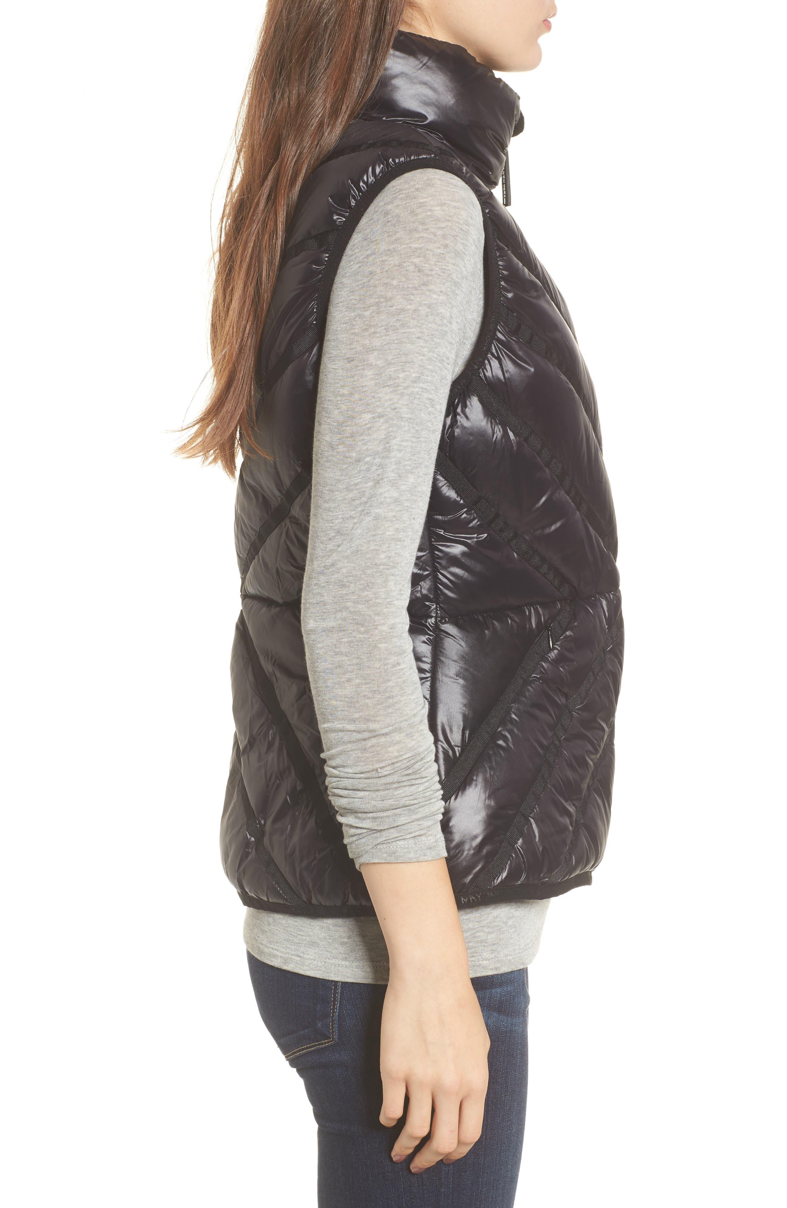 Chevron Quilt Puffer Vest,                             Alternate thumbnail 3, color,                             001
