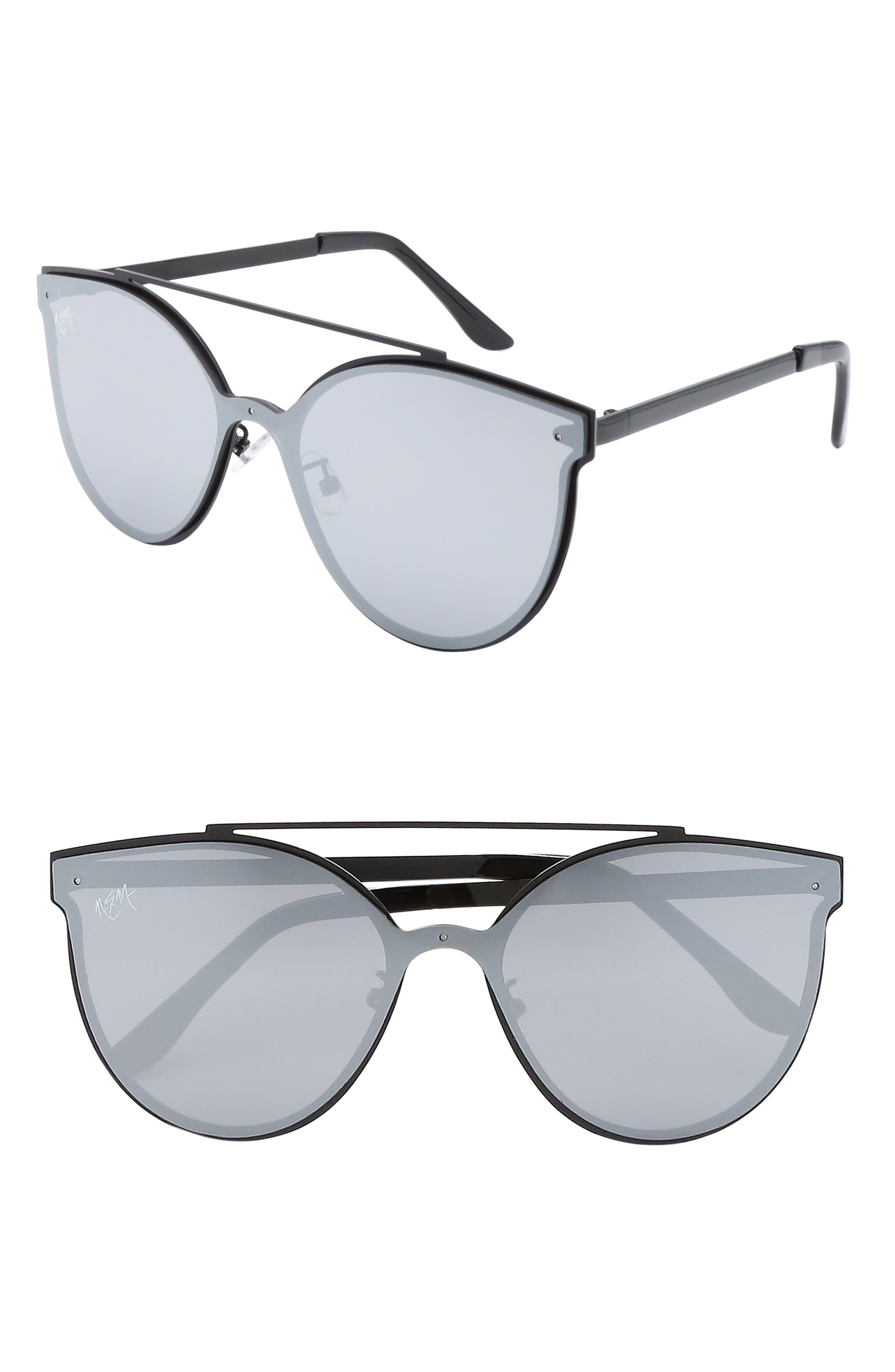 Matisse 55mm Cat Eye Sunglasses,                             Main thumbnail 1, color,                             BLACK W GREY TINTED LENS