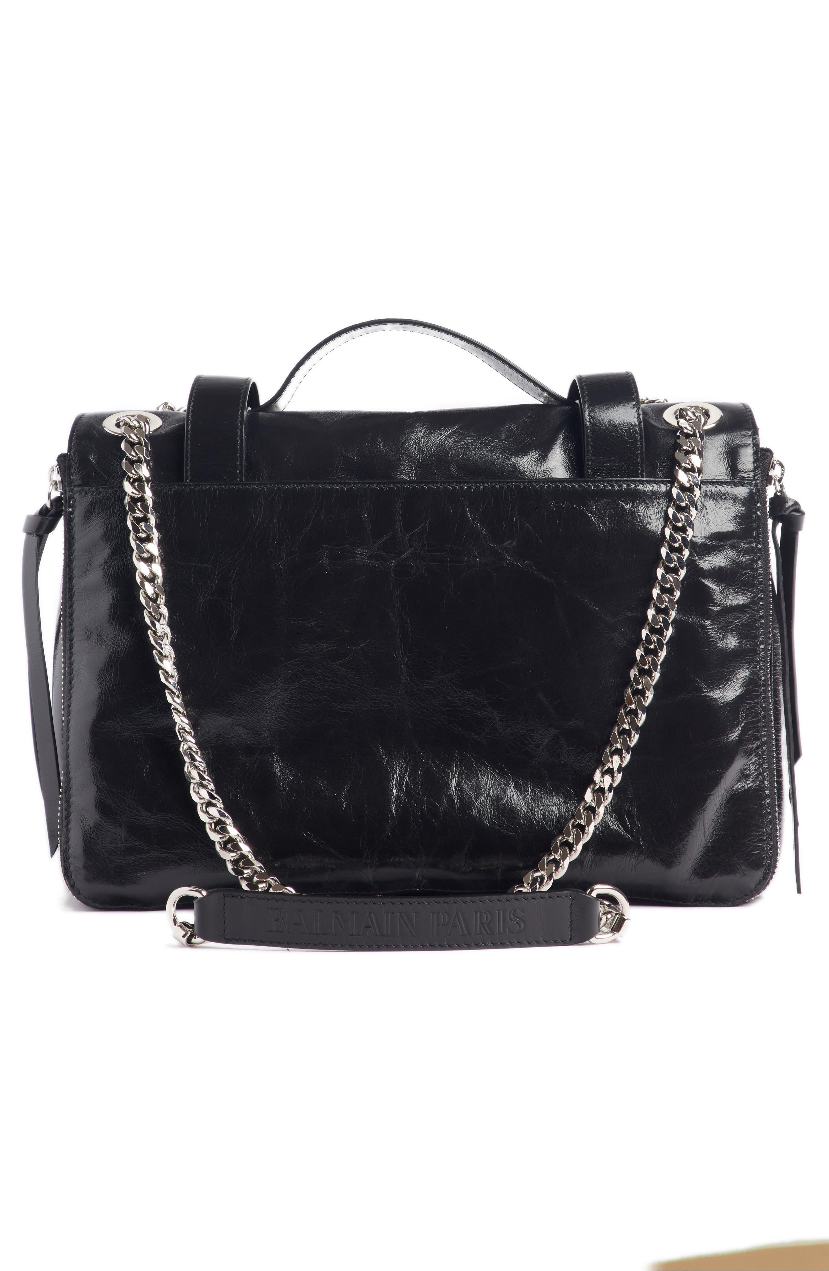 Studded Calfskin Leather Shoulder Bag,                             Alternate thumbnail 3, color,                             001