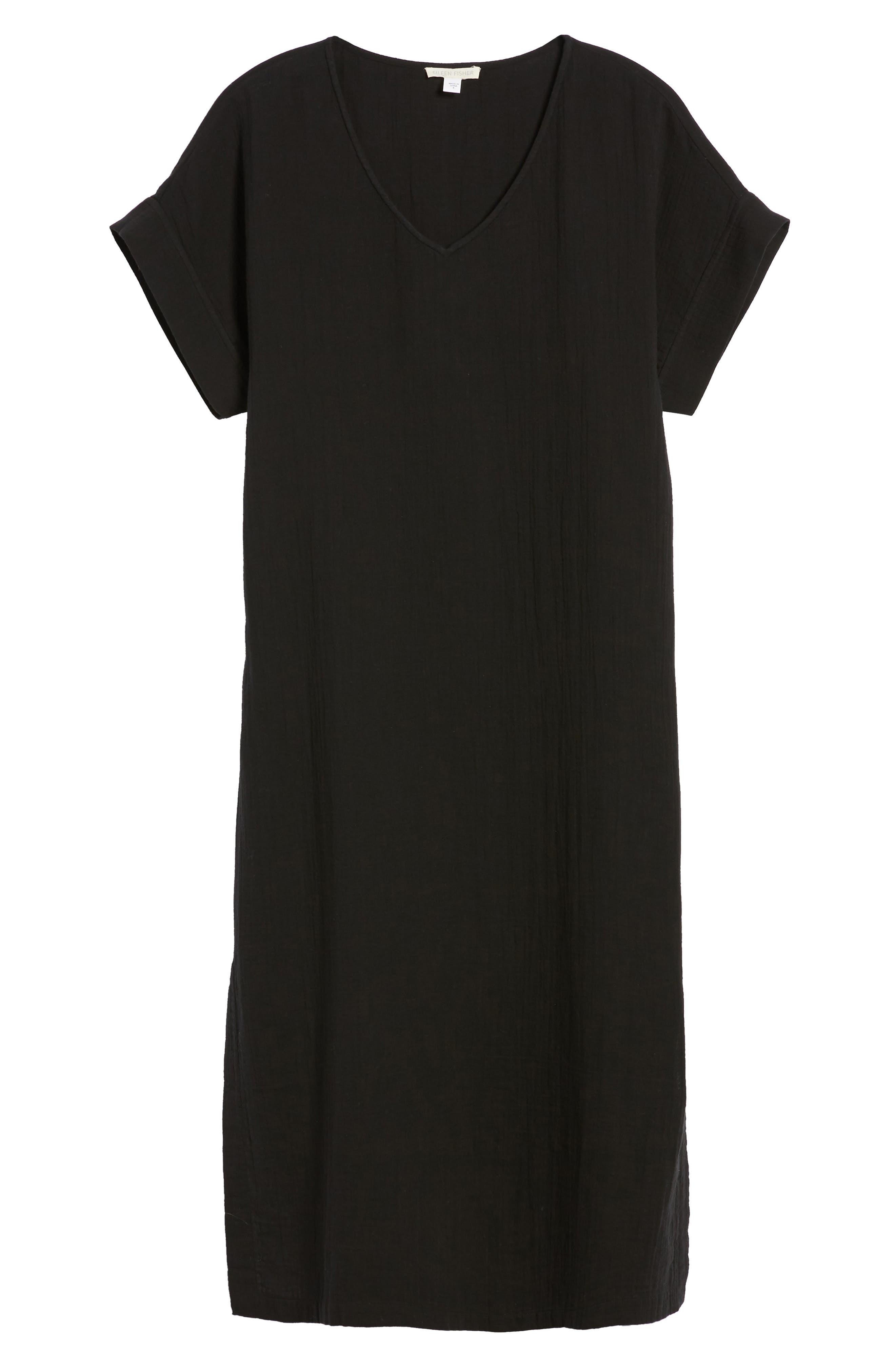 V-Neck Cotton Midi Dress,                             Alternate thumbnail 7, color,                             001
