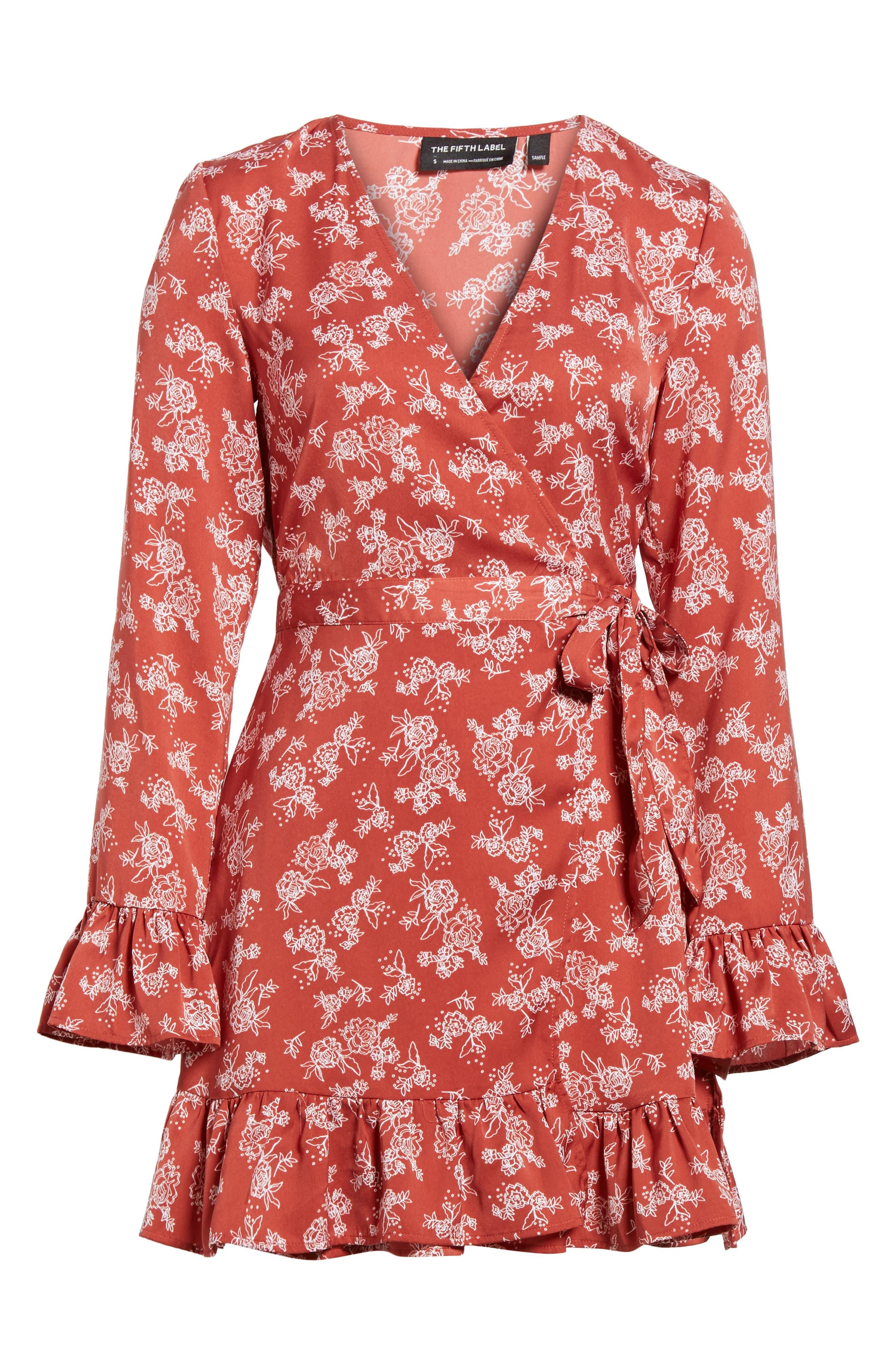 Ophelia Floral Print Wrap Dress,                             Alternate thumbnail 6, color,                             600