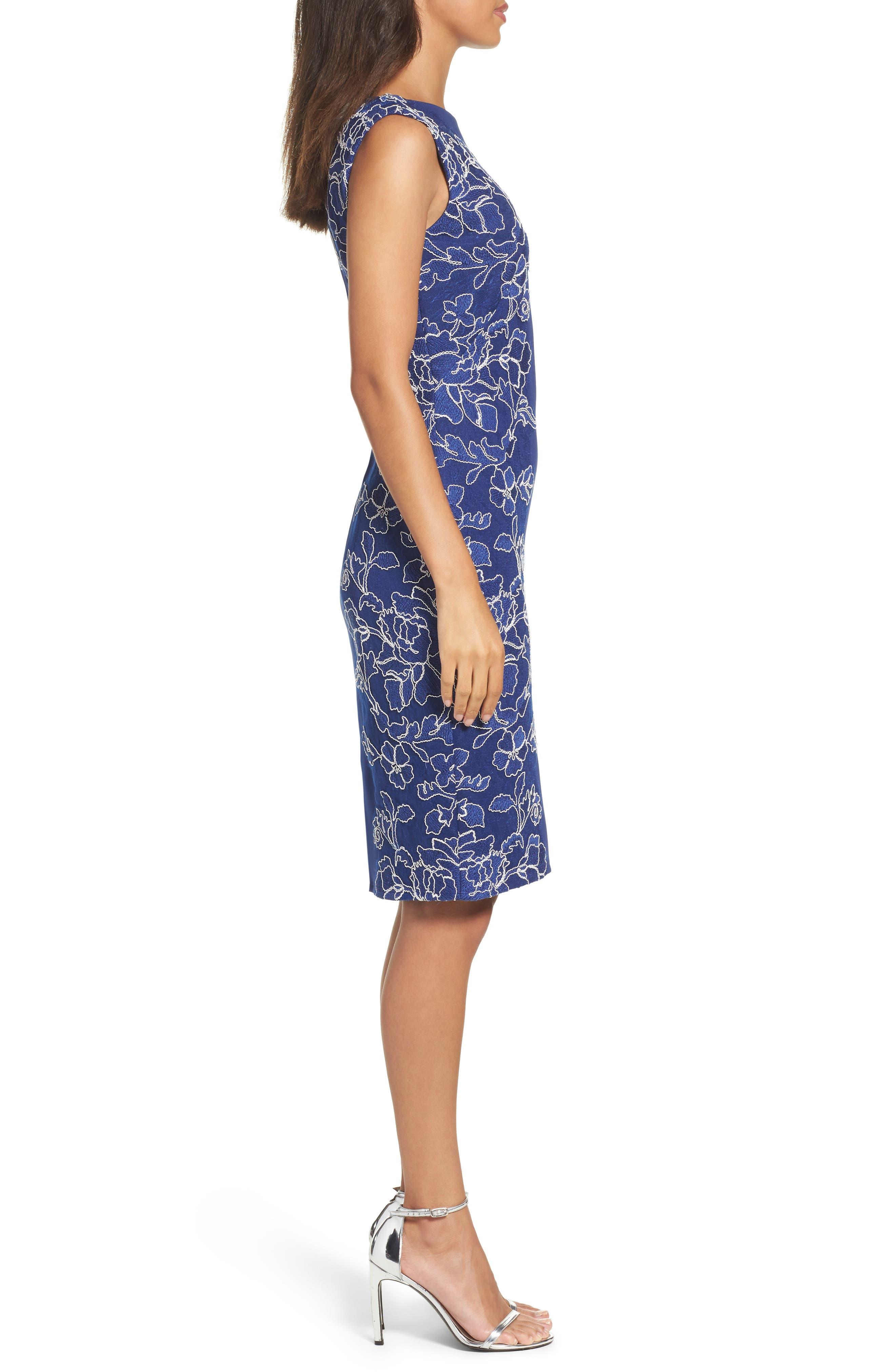Embroidered Neoprene Sheath Dress,                             Alternate thumbnail 11, color,