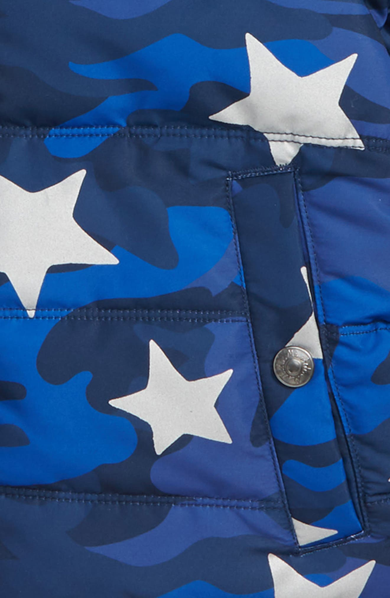 MINI BODEN,                             High Visibility Water Resistant Quilted Coat,                             Alternate thumbnail 2, color,                             BLUE SCHOOL NAVY CAMO STAR