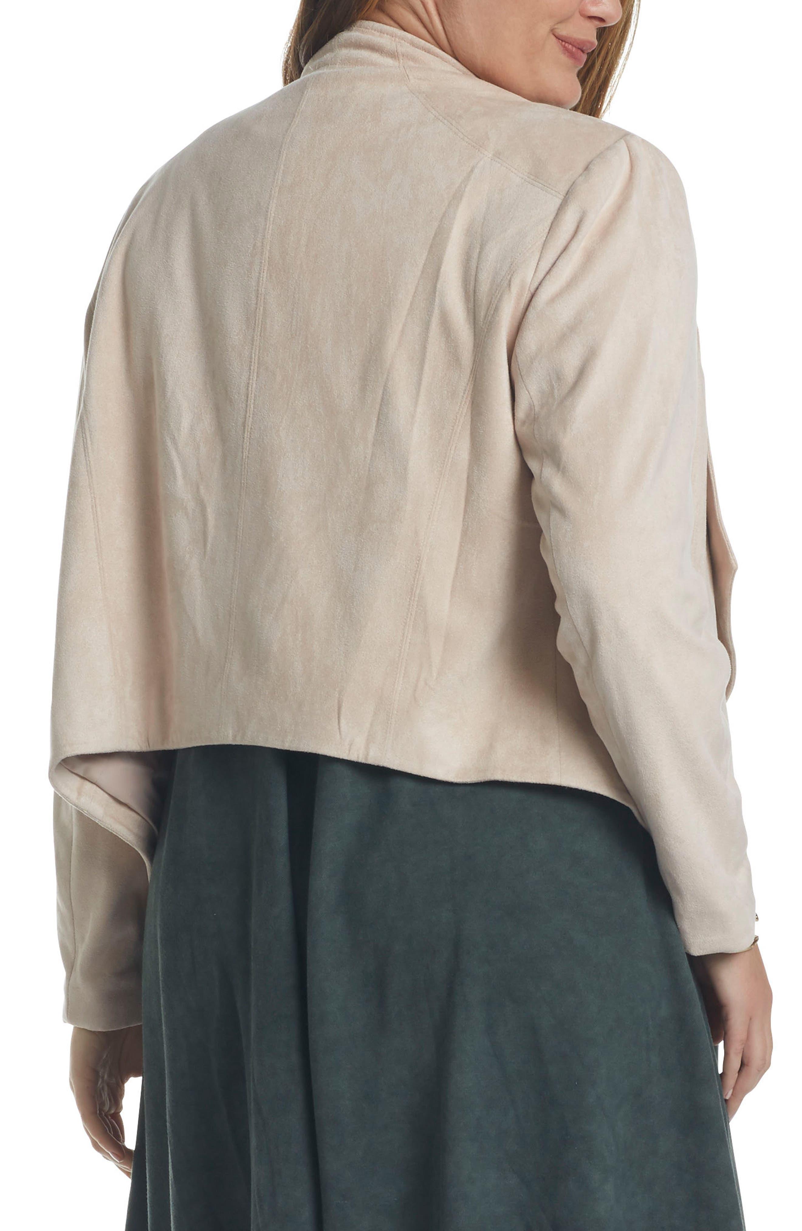 Sybil Faux Suede Drape Front Jacket,                             Alternate thumbnail 2, color,                             285