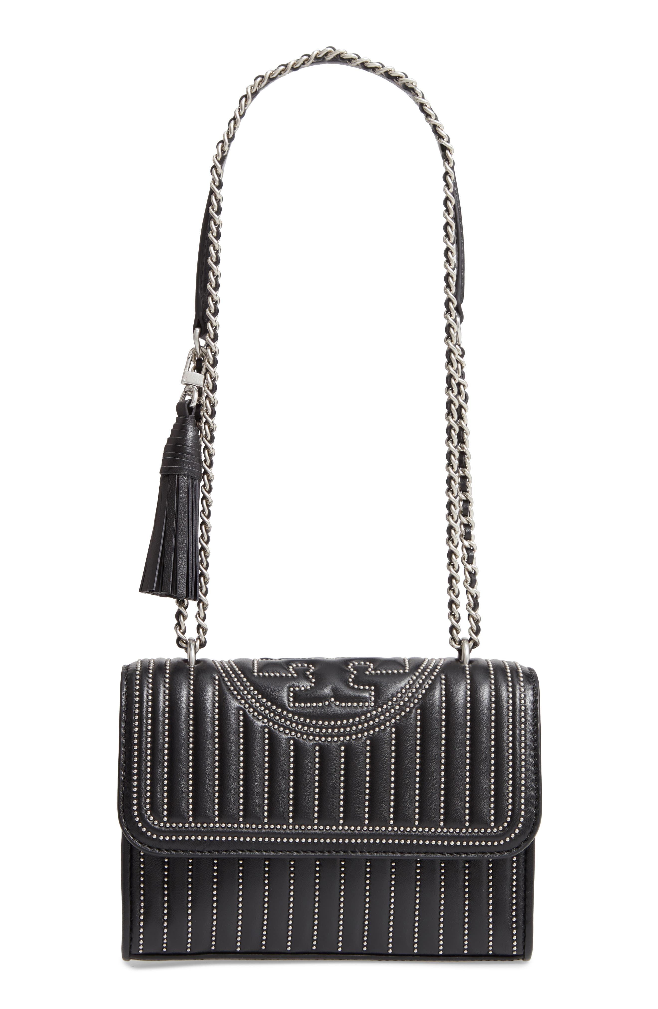 TORY BURCH,                             Small Fleming Studded Leather Convertible Shoulder Bag,                             Main thumbnail 1, color,                             BLACK / SILVER