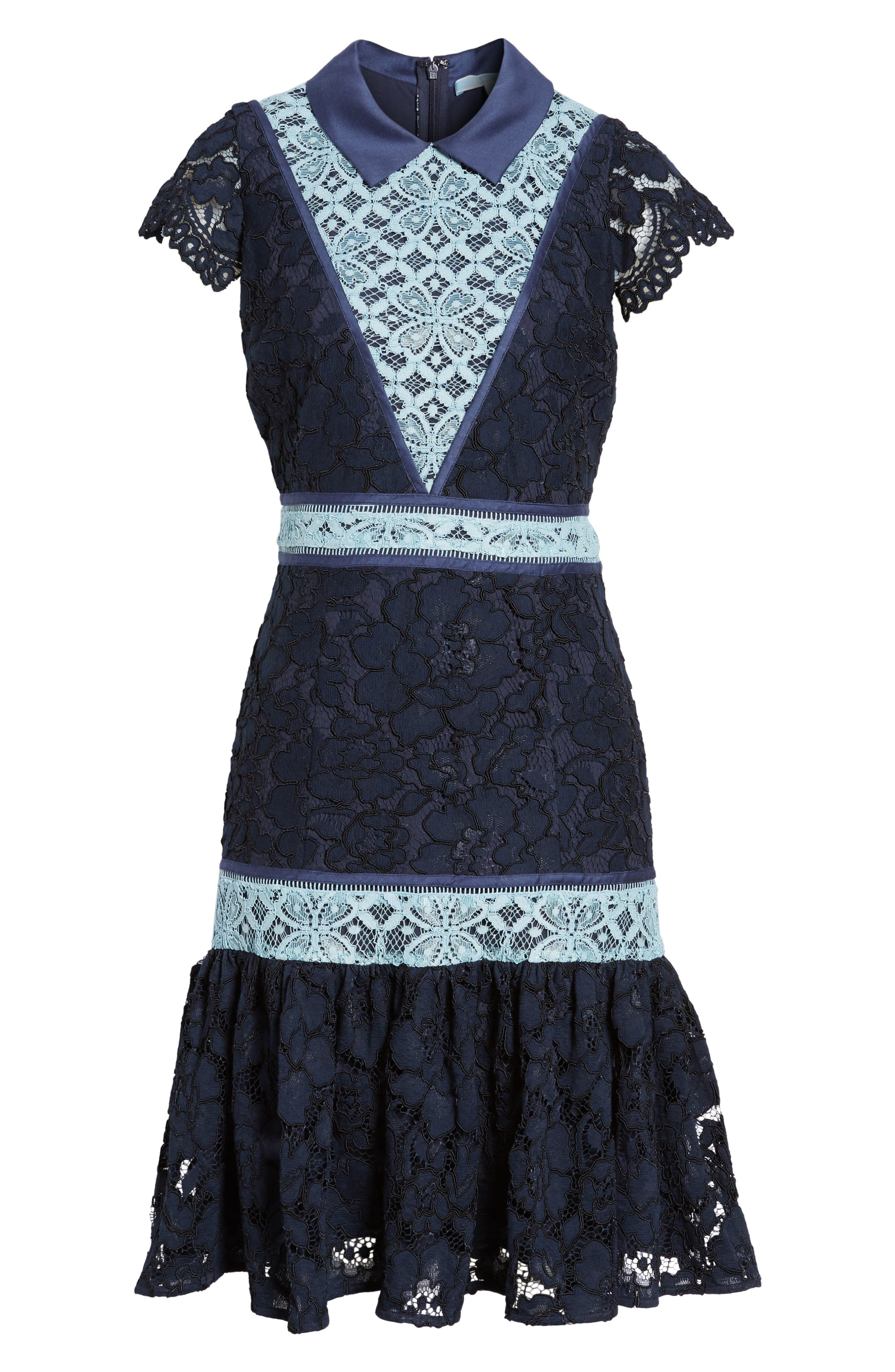 Collared Lace Collection A-Line Dress,                             Alternate thumbnail 6, color,                             432