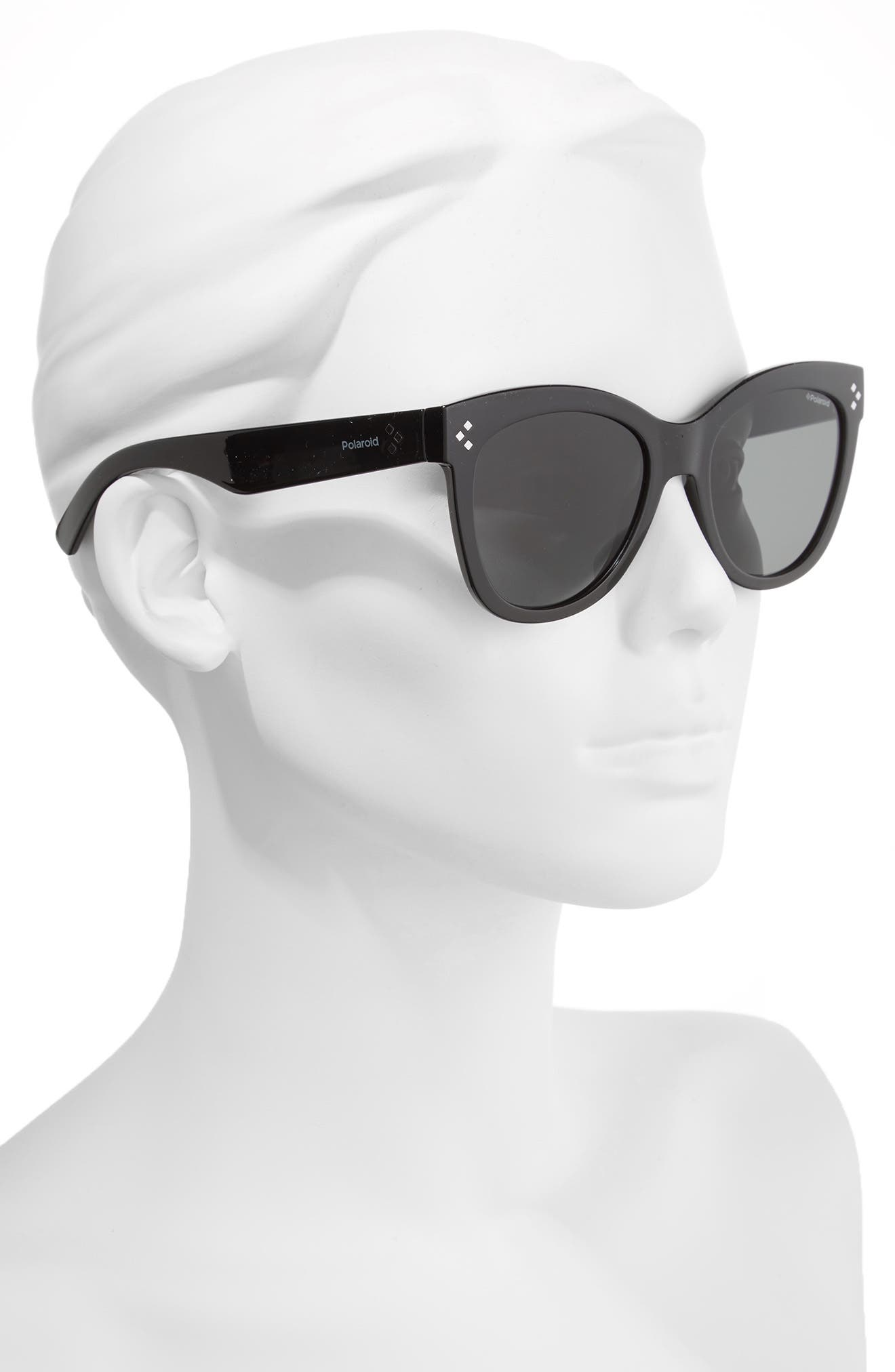 54mm Polarized Sunglasses,                             Alternate thumbnail 2, color,                             SHINY BLACK