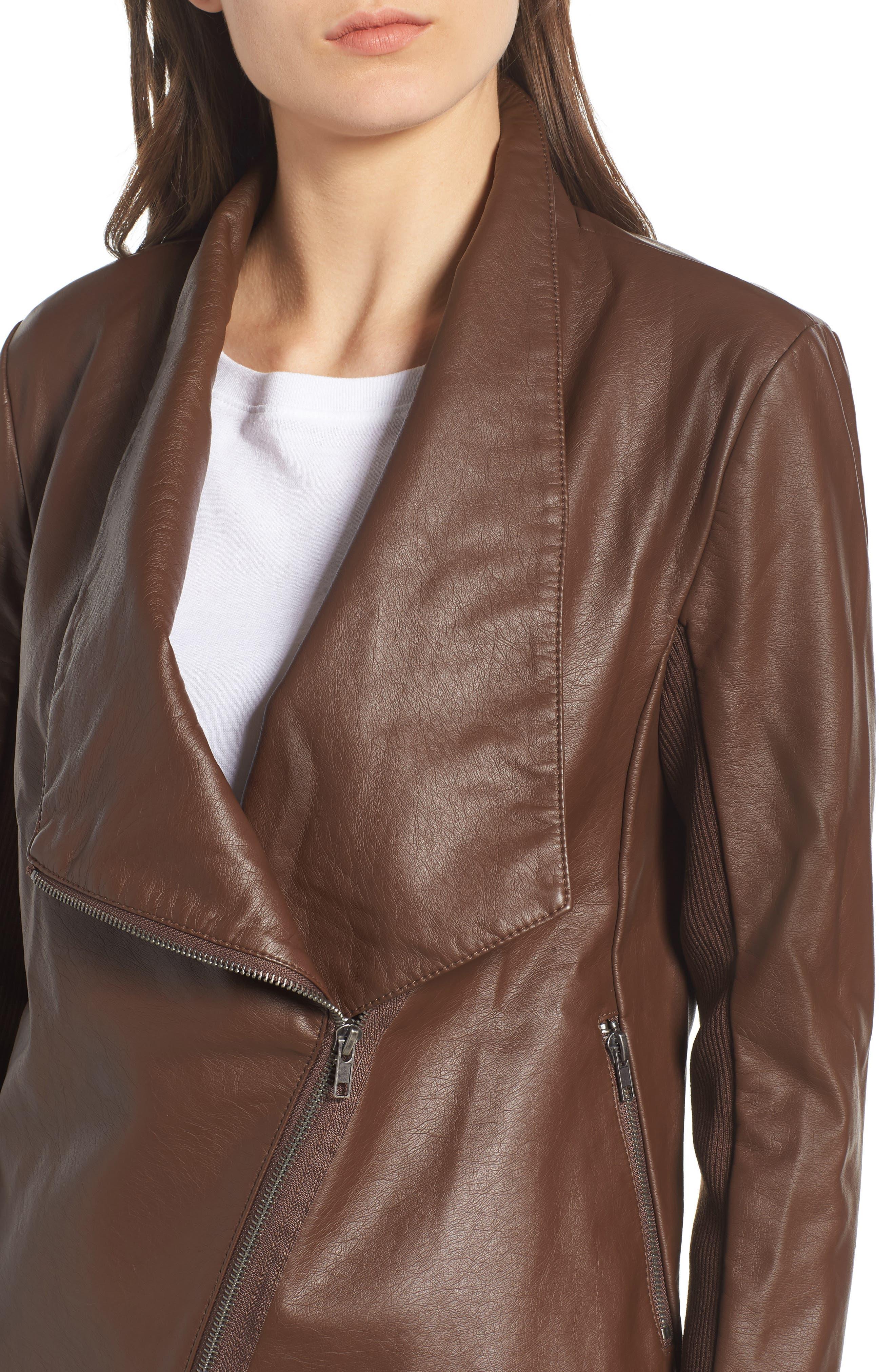 Gabrielle Faux Leather Asymmetrical Jacket,                             Alternate thumbnail 4, color,                             202