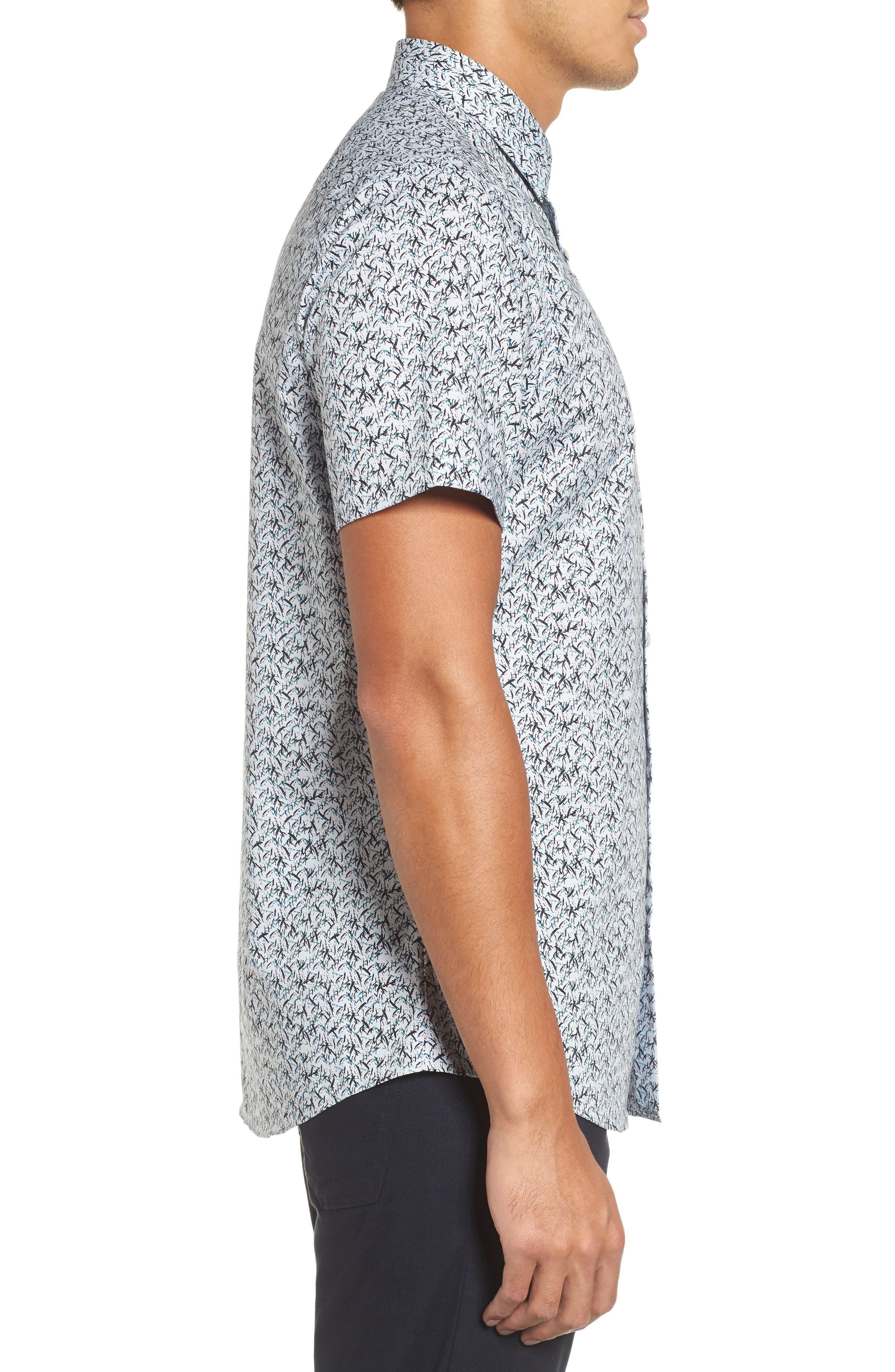 Slim Fit No-Iron Print Sport Shirt,                             Alternate thumbnail 3, color,                             450