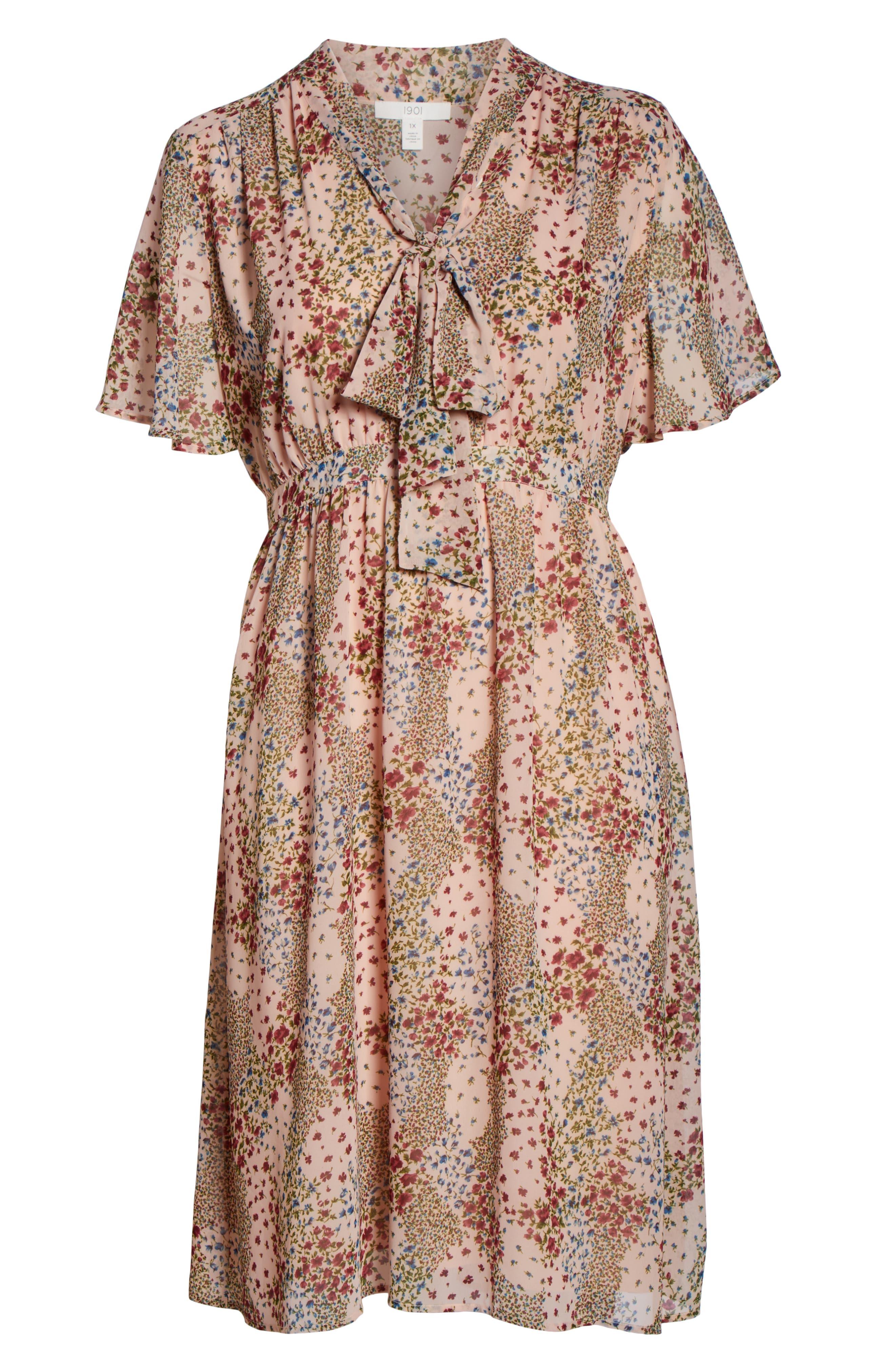 Tie Neck Floral Dress,                             Alternate thumbnail 7, color,                             958