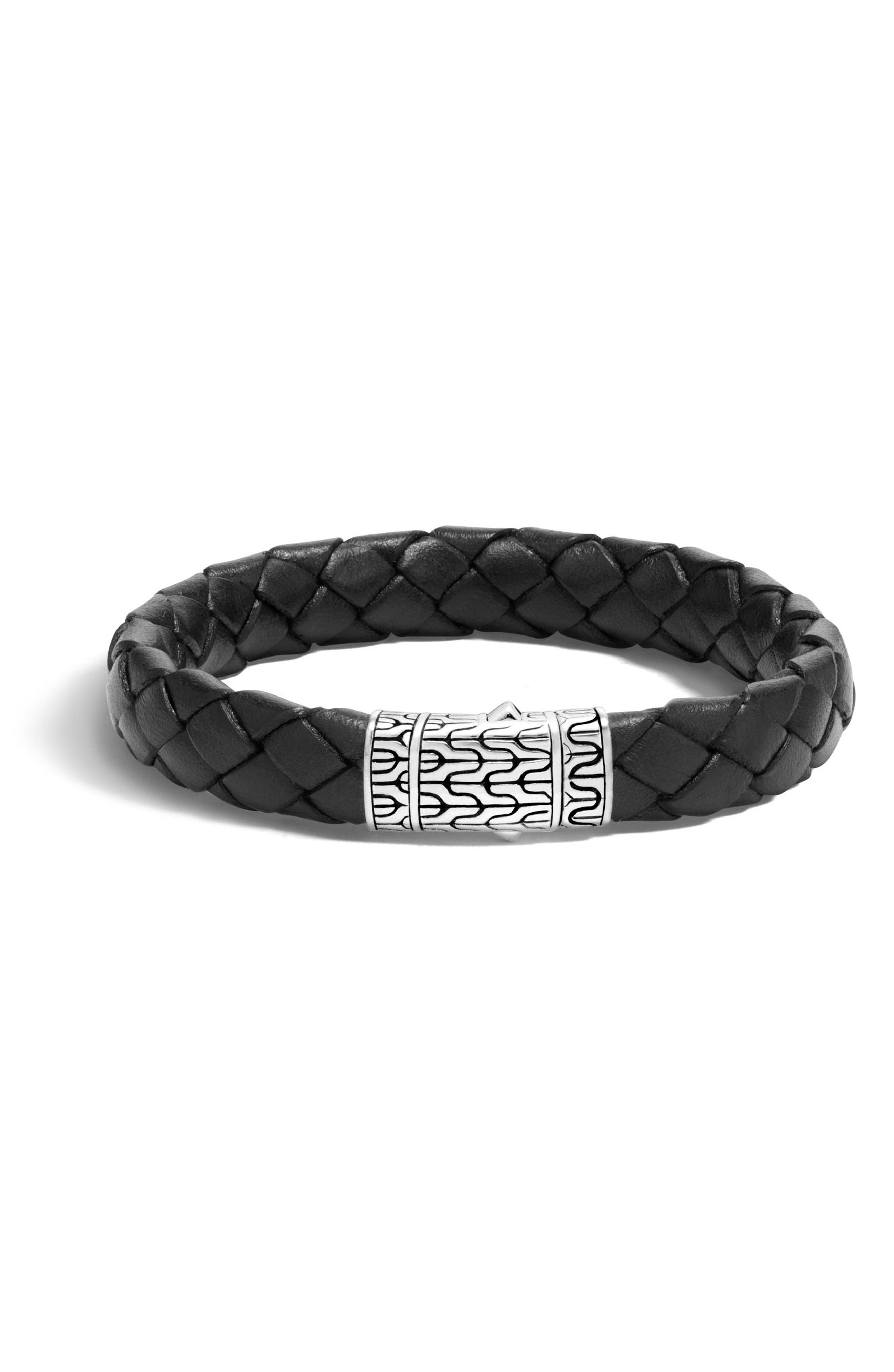 Men's Leather & Sterling Bracelet,                             Main thumbnail 1, color,                             SILVER/ BLACK