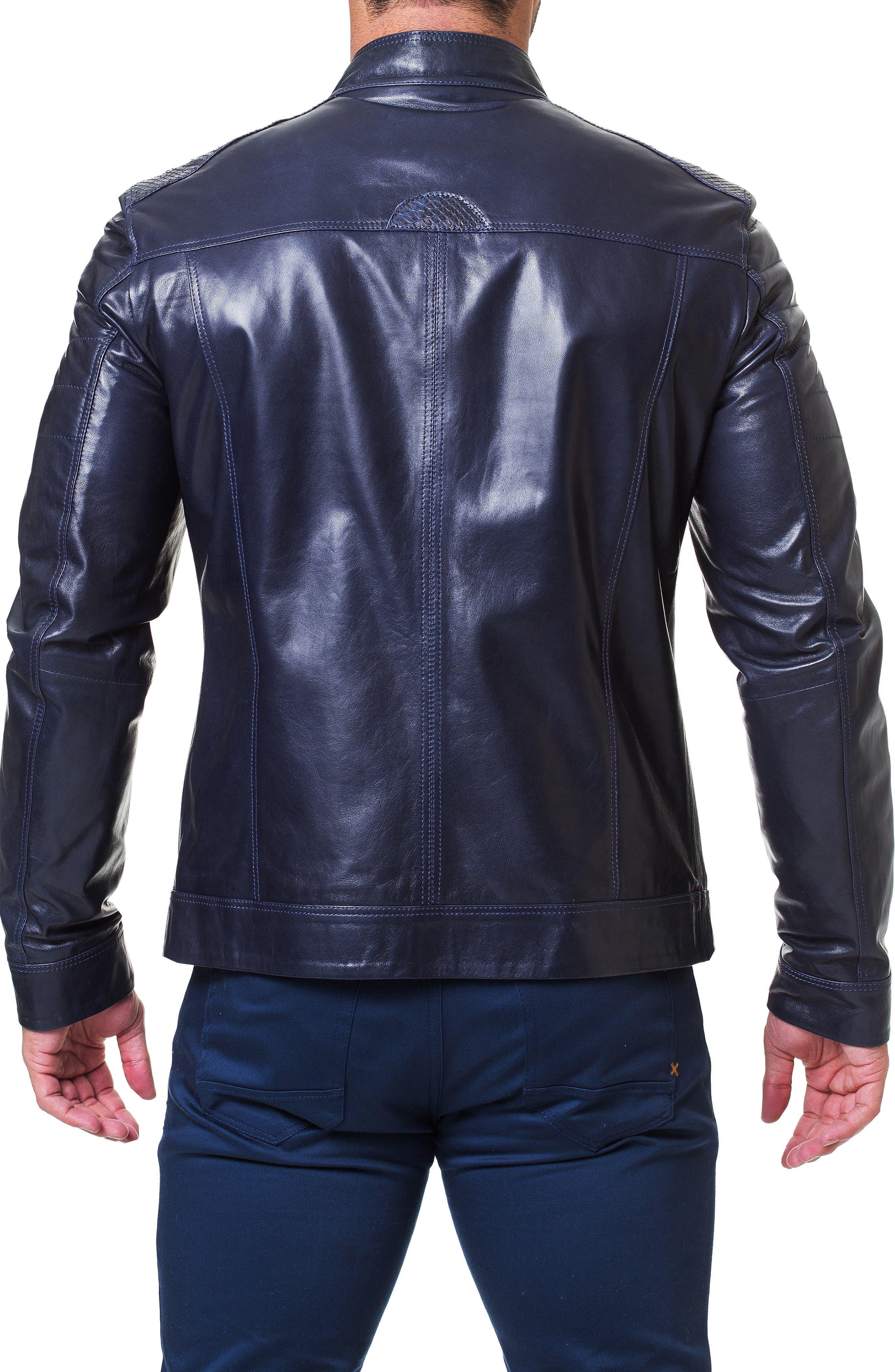 Mamba Shaped Fit Leather Jacket,                             Alternate thumbnail 2, color,                             BLUE