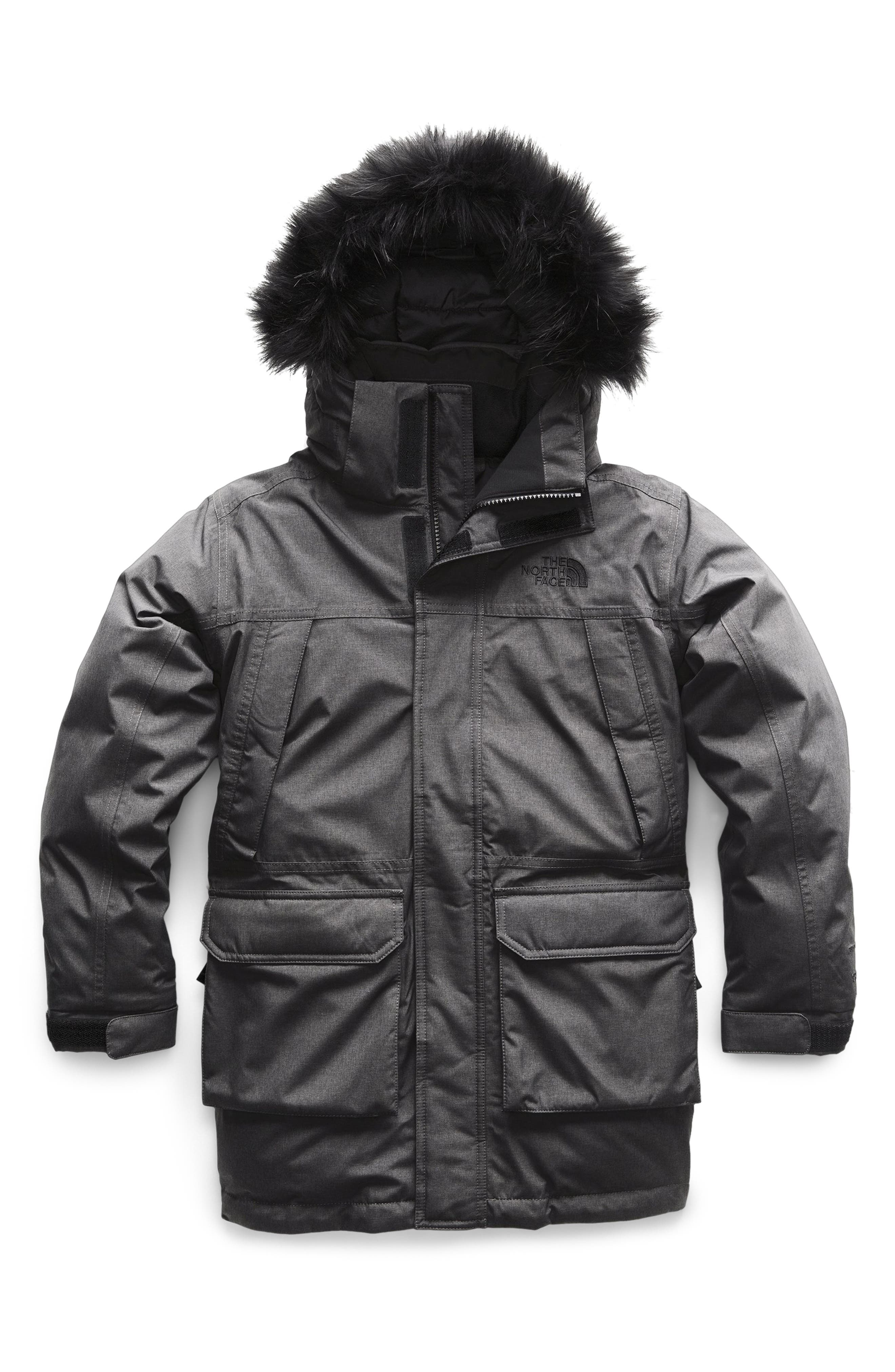 Boys The North Face Mcmurdo Waterproof 550 Fill Power Down Parka With Faux Fur Trim Size XL (1820)  Grey