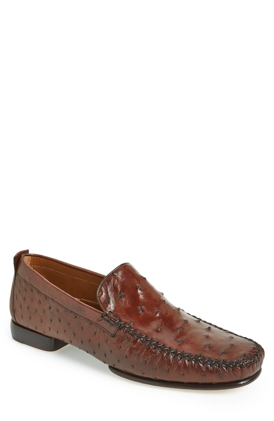 'Rollini' Ostrich Leather Loafer,                         Main,                         color, TOBACCO