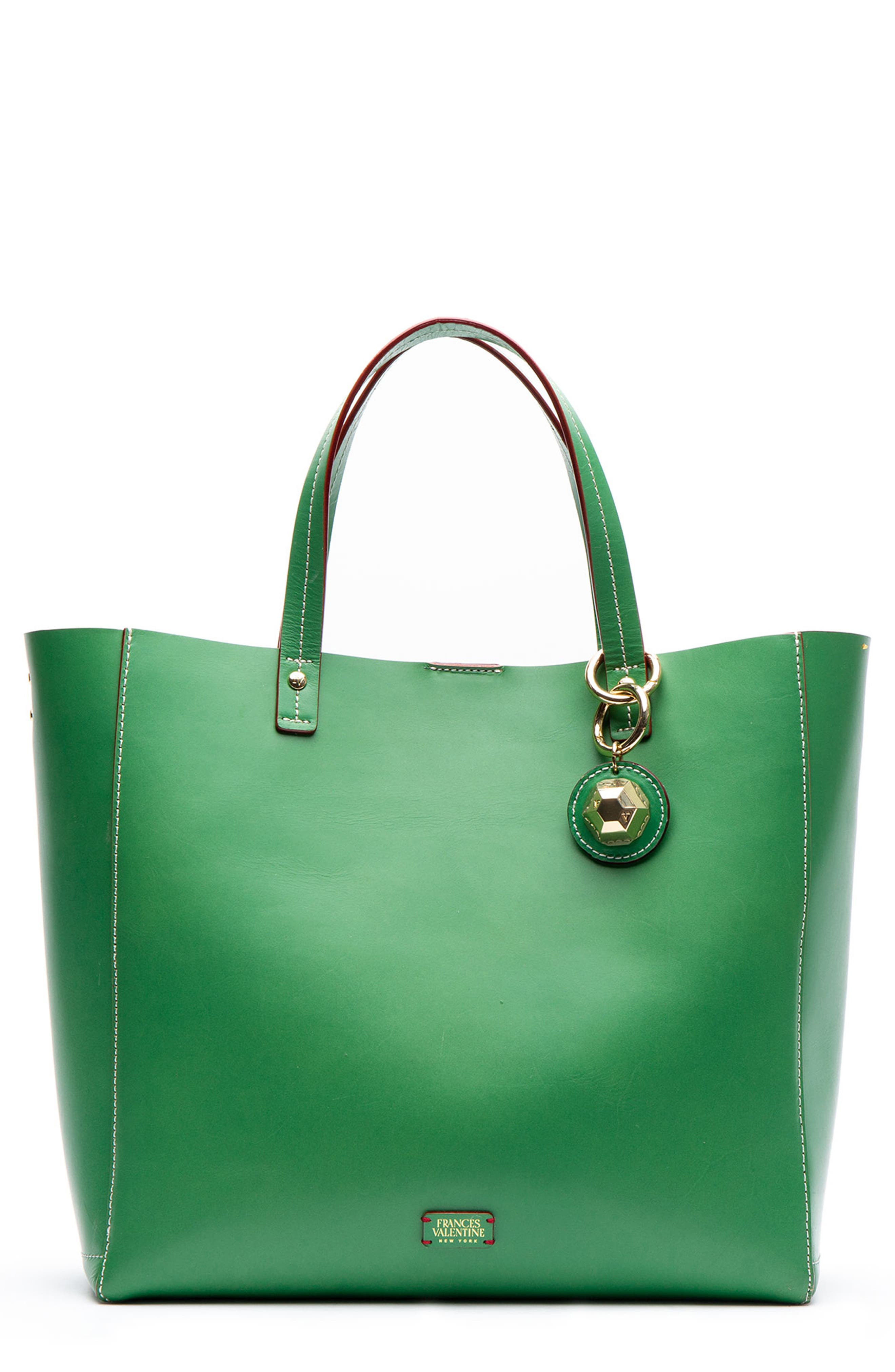 FRANCES VALENTINE Large Margaret Leather Tote in Green Ray