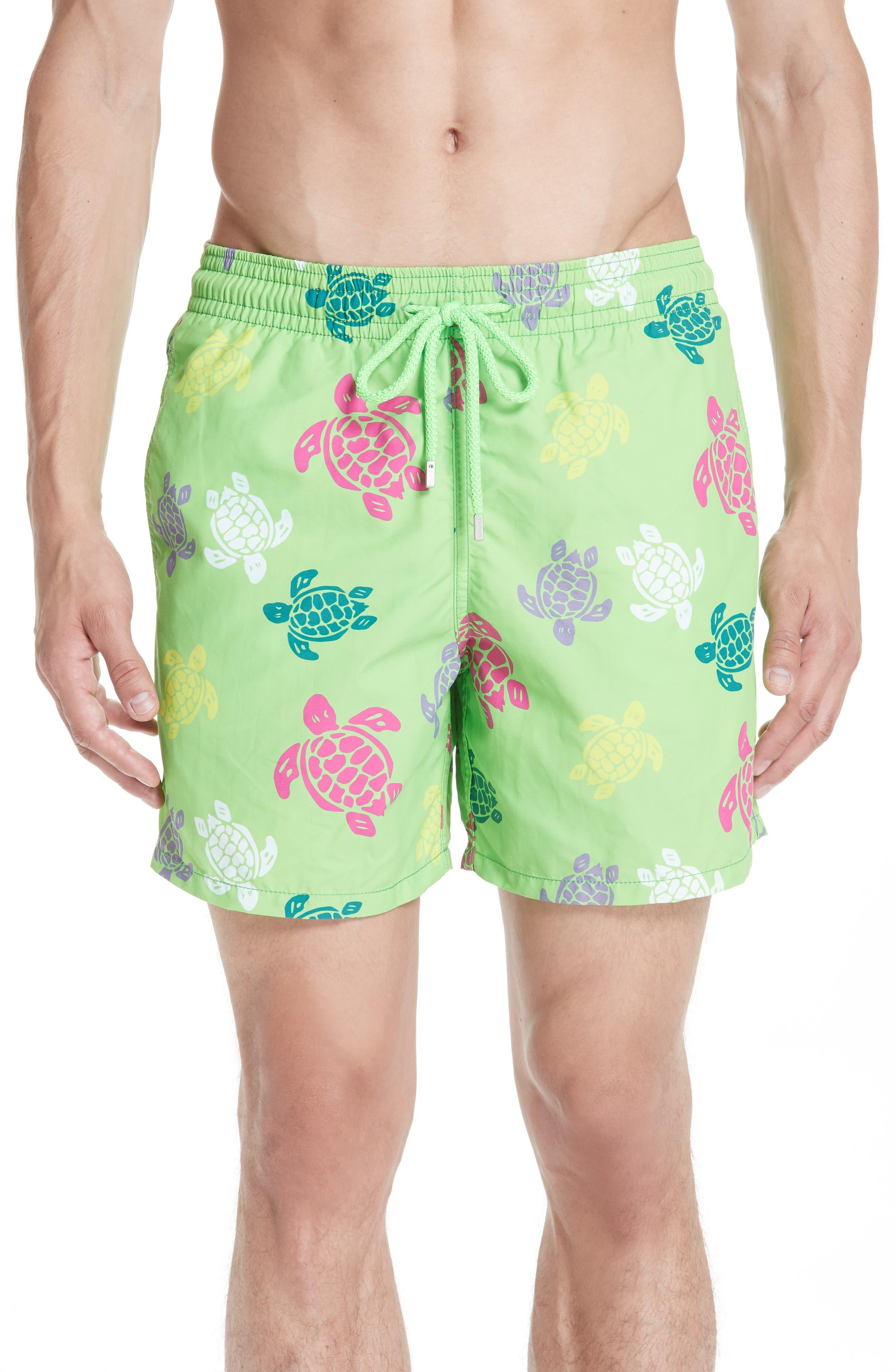 Turtle Print Swim Trunks,                         Main,                         color, GREEN