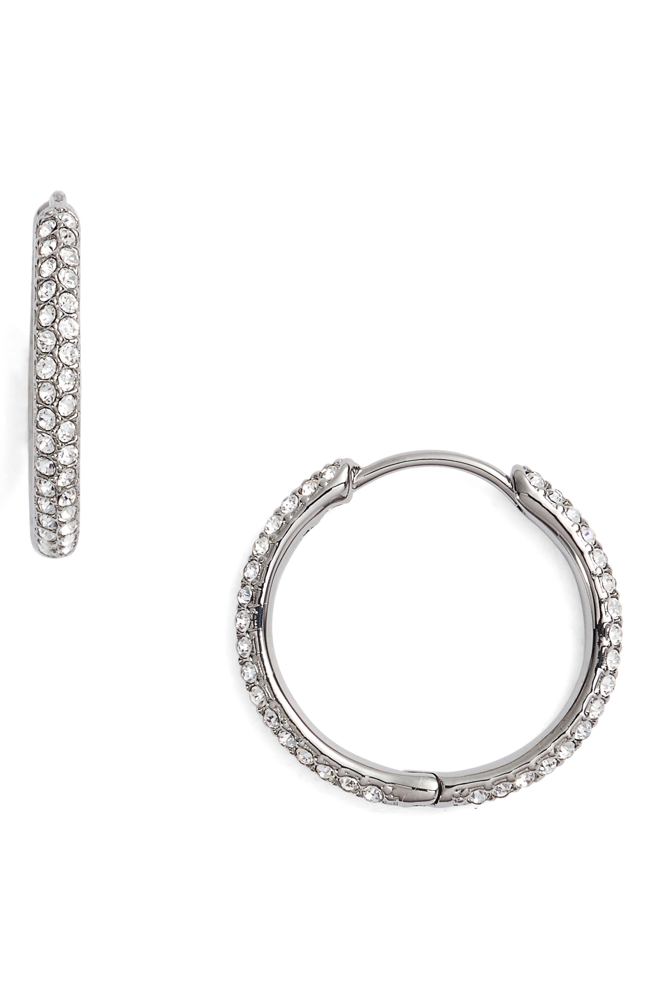 Pavé Hoop Earrings,                         Main,                         color, 001