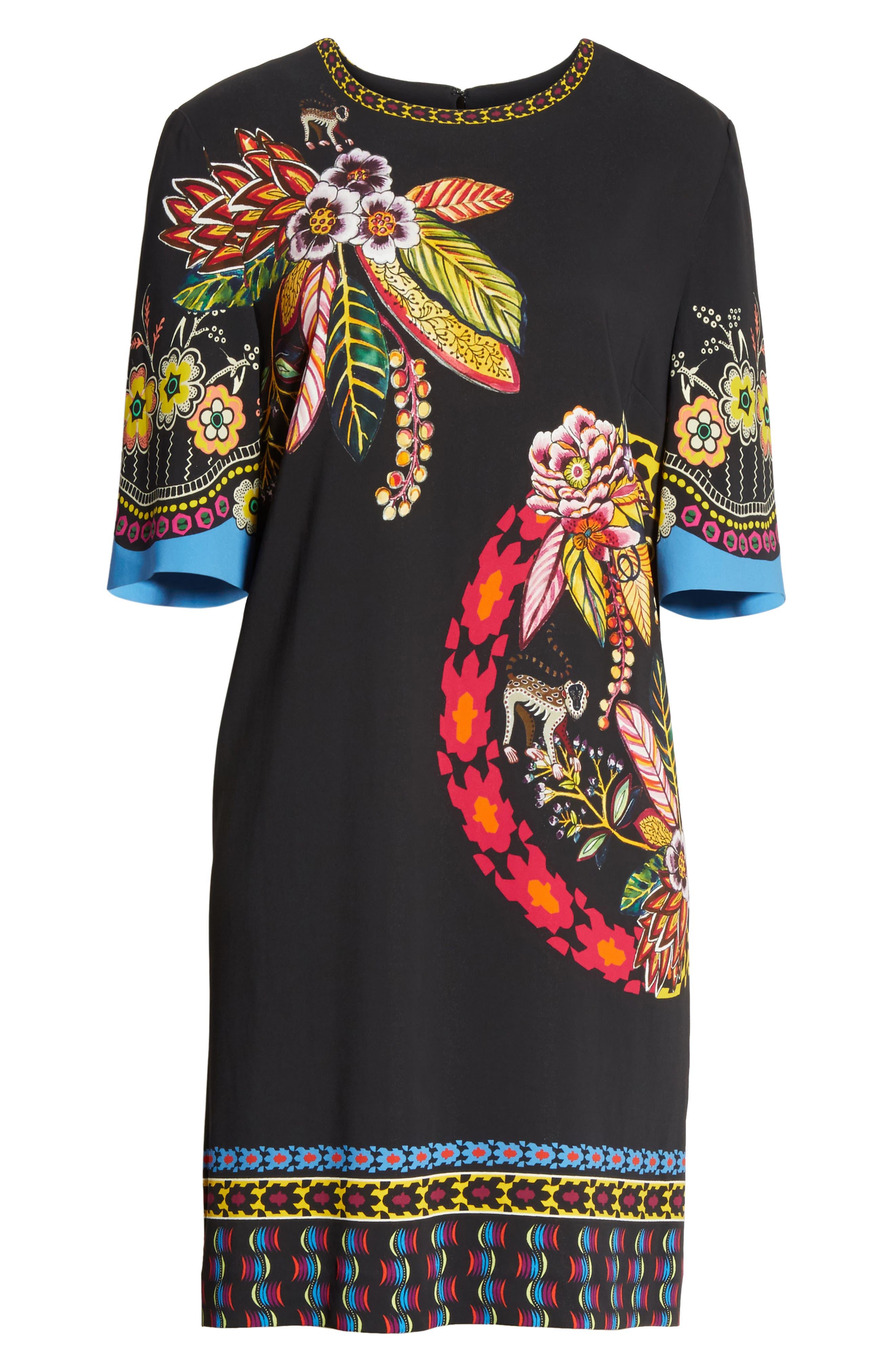 Floral Jungle & Animal Print Dress,                             Alternate thumbnail 6, color,                             001