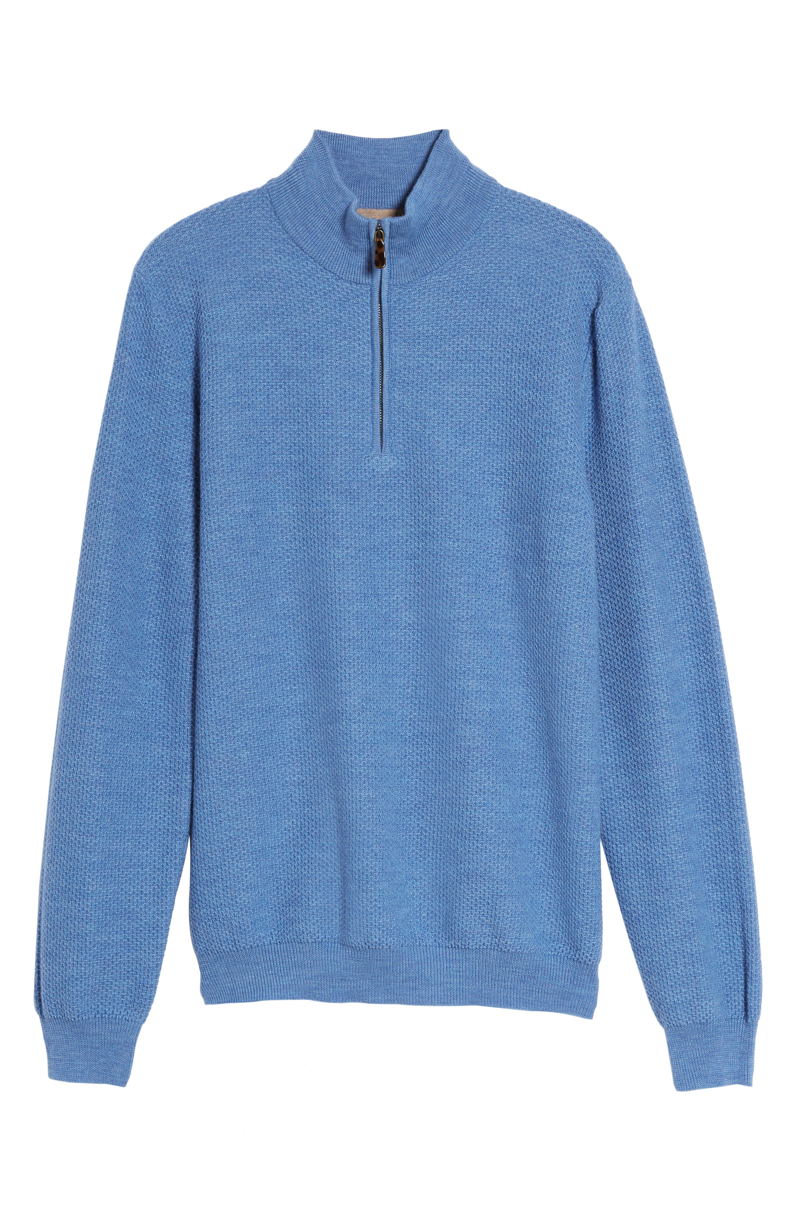 Honeycomb Merino Wool Quarter Zip Pullover,                             Alternate thumbnail 17, color,