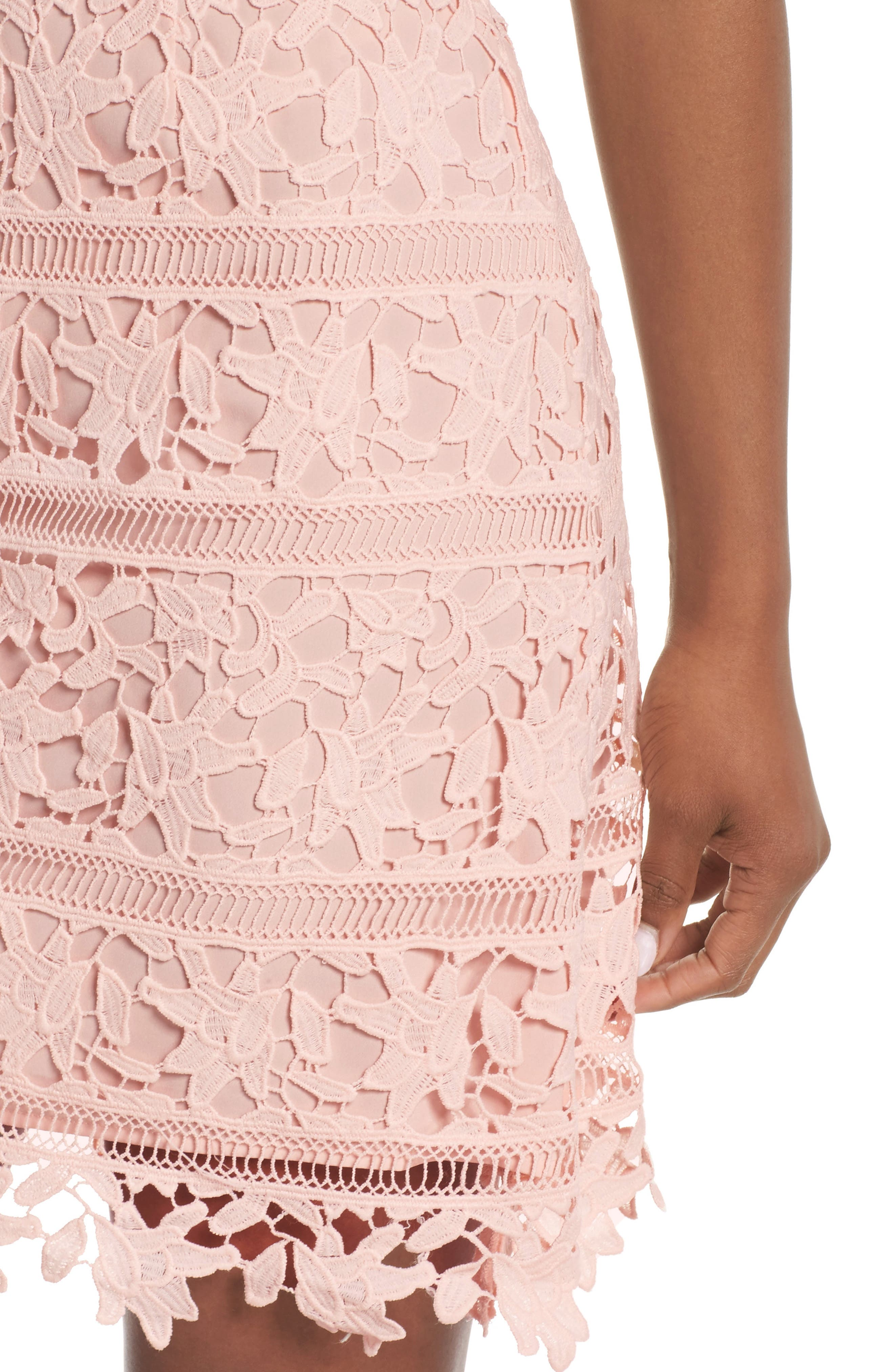 Crochet Overlay Dress,                             Alternate thumbnail 4, color,                             BLUSH