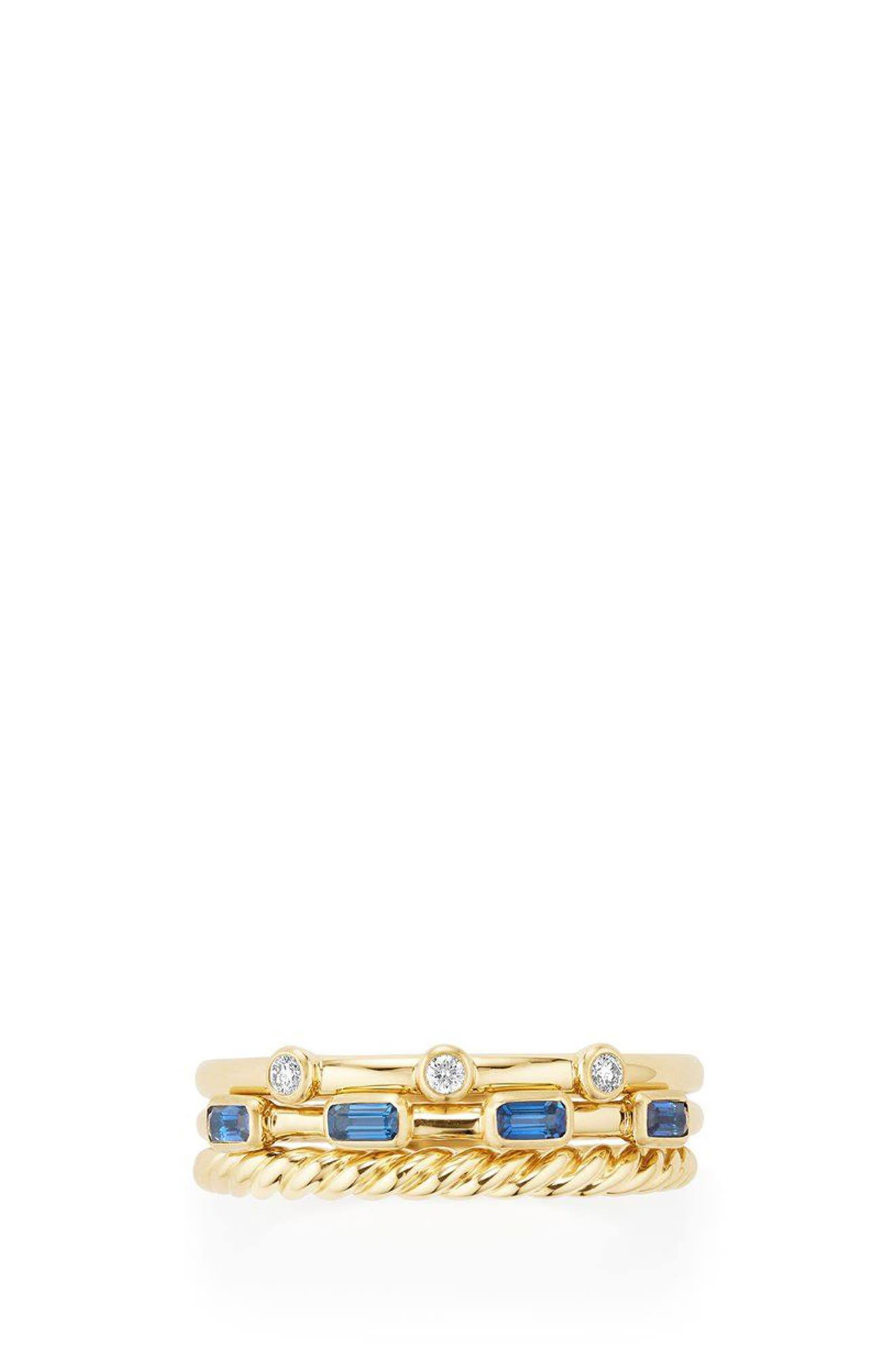 DAVID YURMAN,                             Novella 3-Row Ring with Diamonds,                             Alternate thumbnail 3, color,                             GOLD/ DIAMOND/ BLUE SAPPHIRE