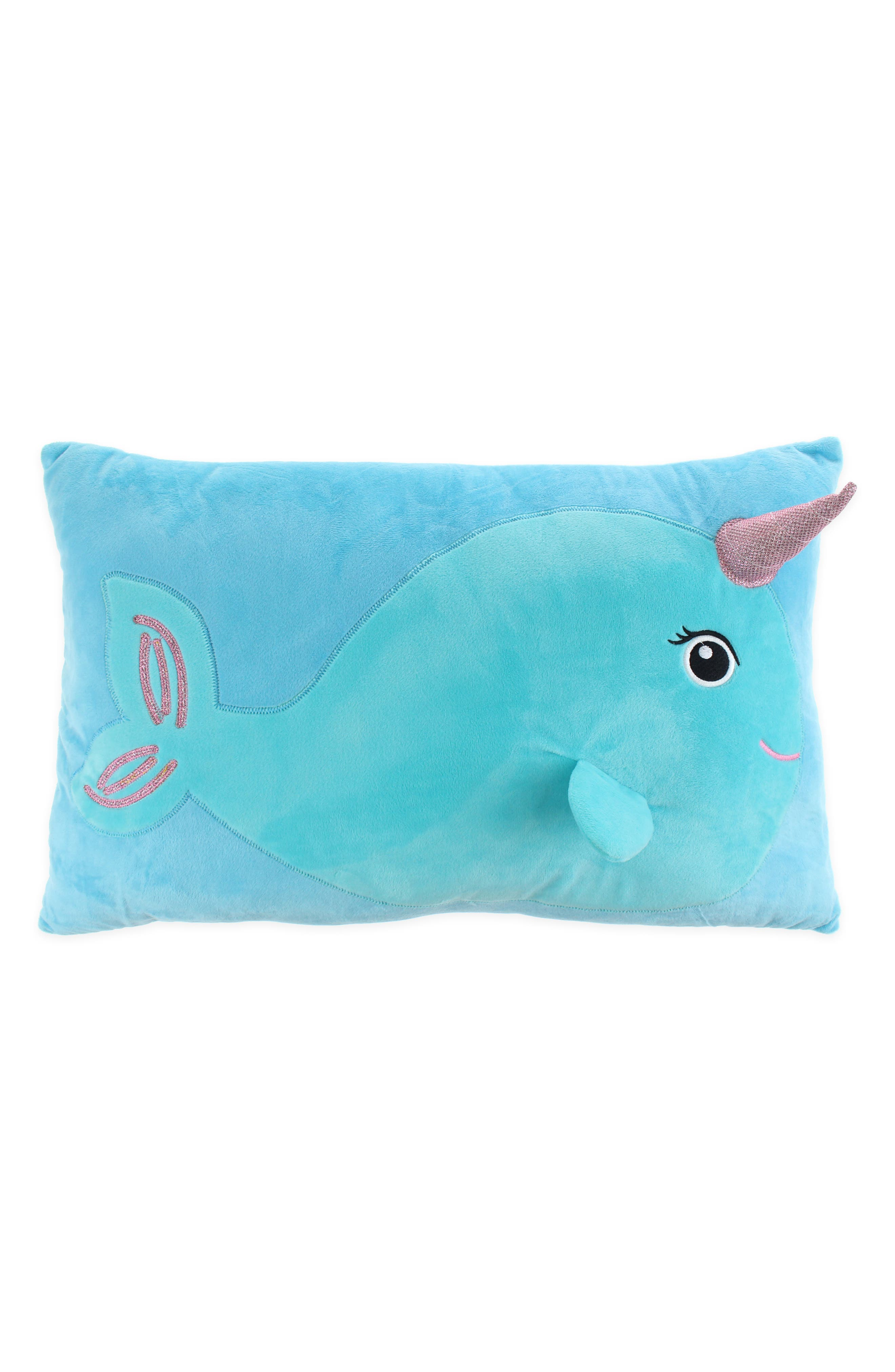 Narwhal Throw Pillow,                             Main thumbnail 1, color,                             BLUE COMBO