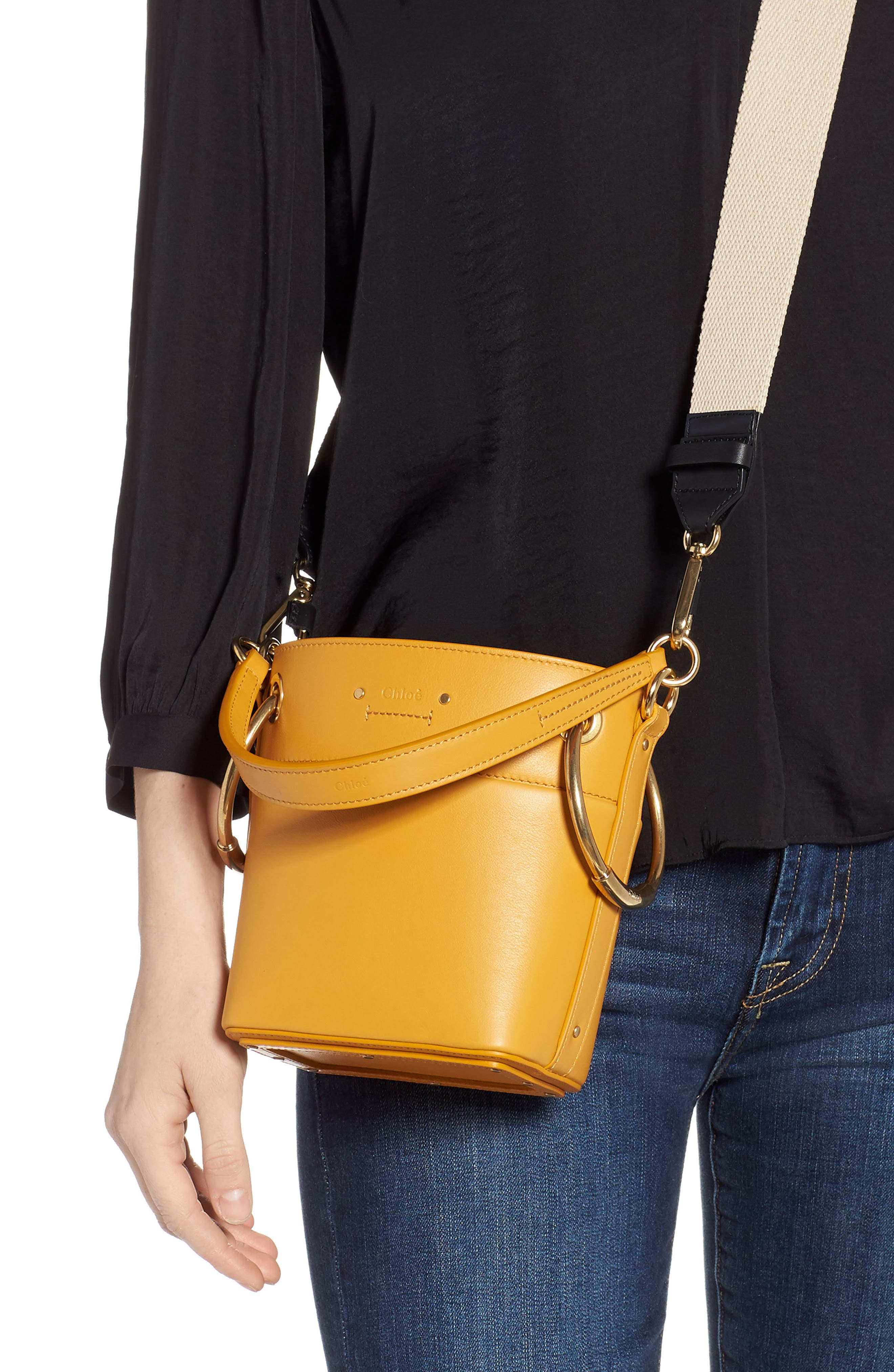 Roy Small Leather Bucket Bag,                             Alternate thumbnail 2, color,                             BURNING CAMEL