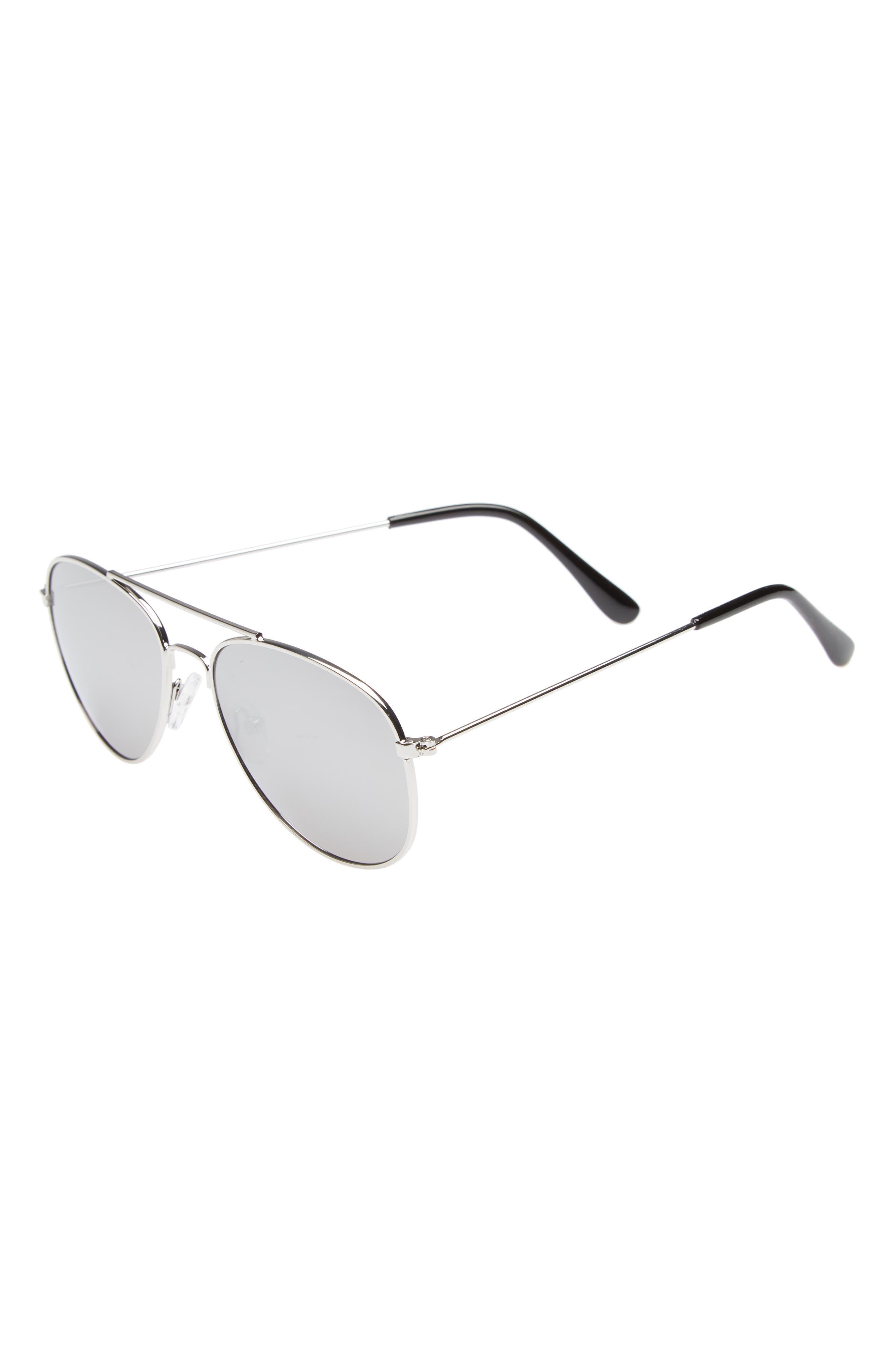 50mm Mirrored Aviator Sunglasses,                         Main,                         color, SILVER COMBO