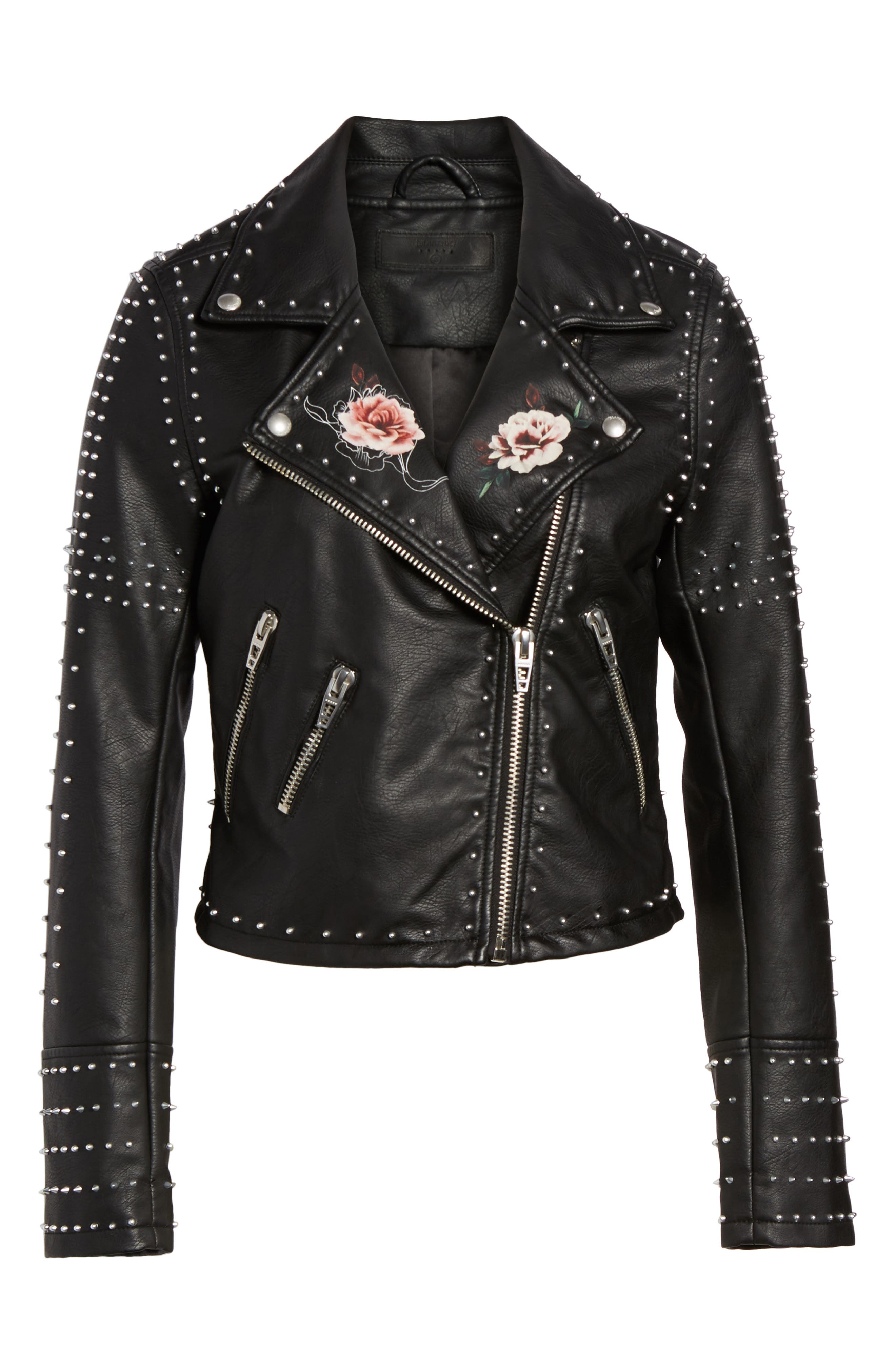 Printed Studded Moto Jacket,                             Alternate thumbnail 9, color,