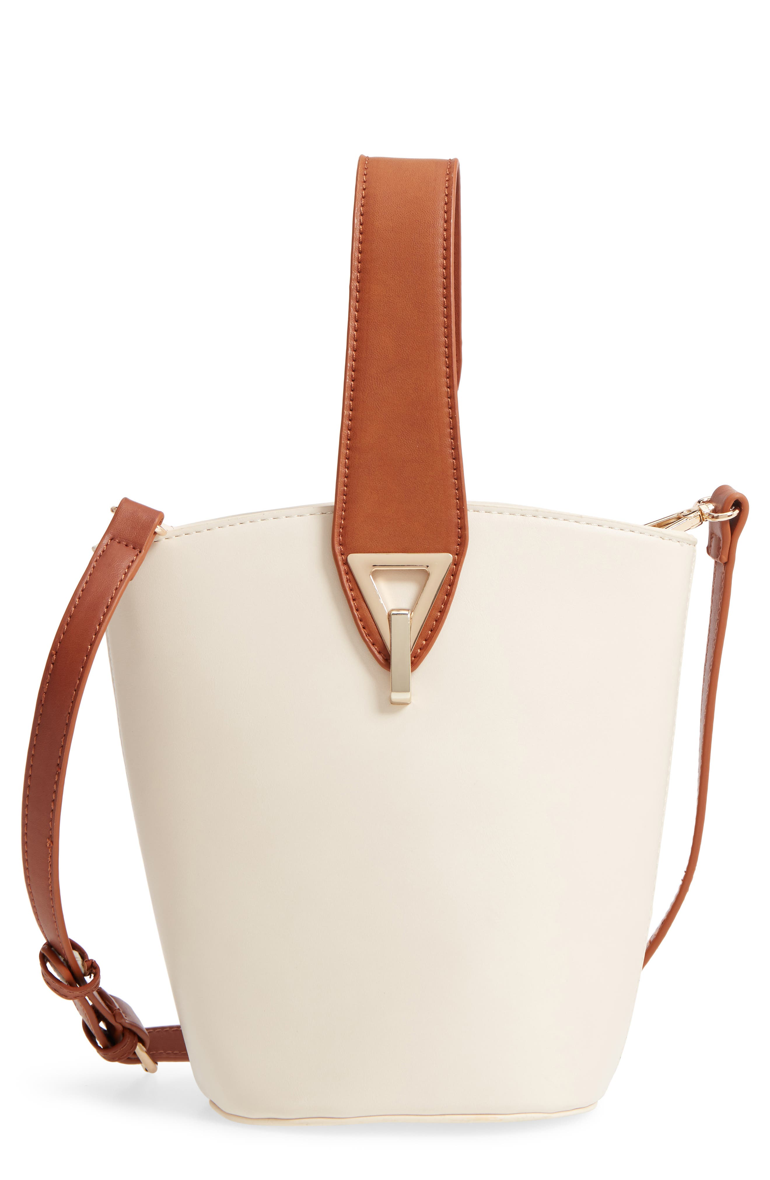 Top Handle Bucket Bag,                         Main,                         color, IVORY