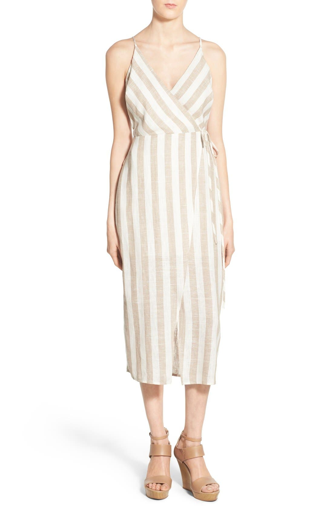 ASTR THE LABEL ASTR Linen Blend Wrap Dress, Main, color, 250