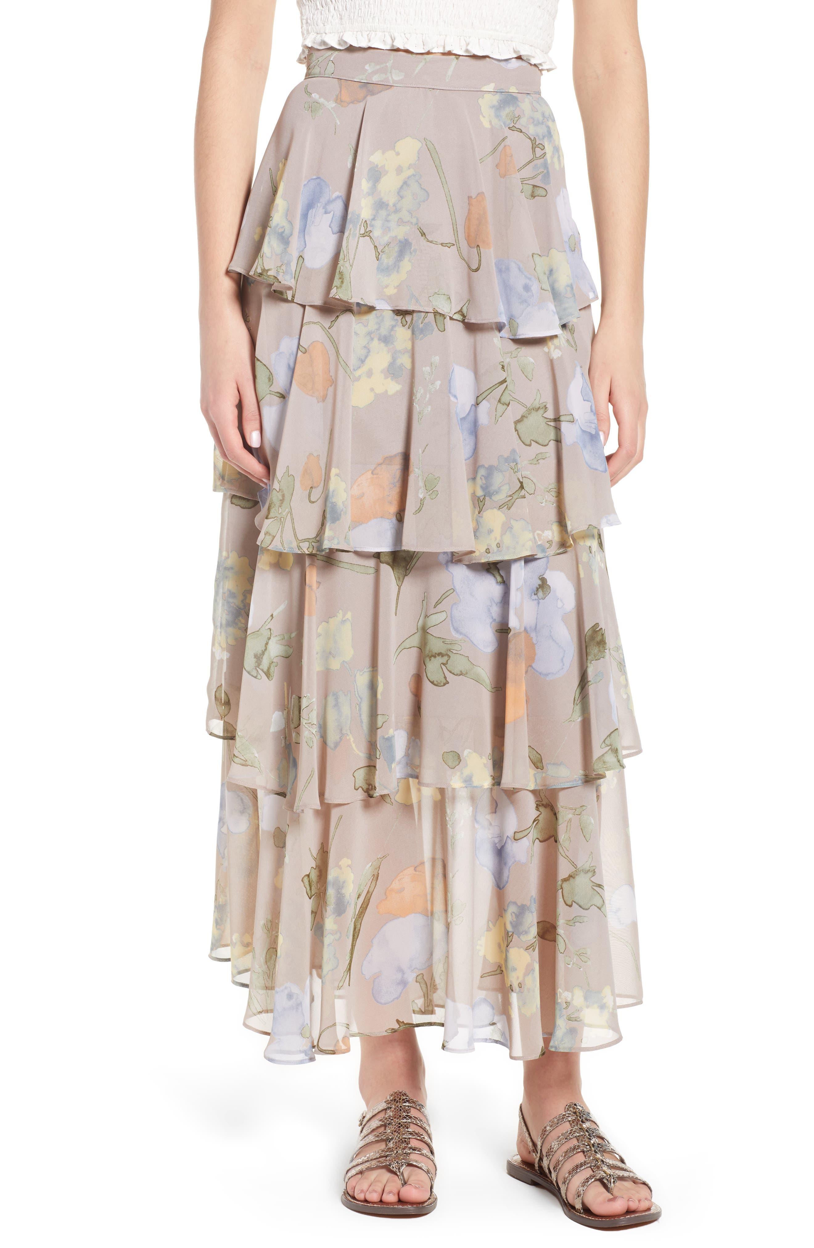Clarita Floral Tiered Maxi Skirt,                             Main thumbnail 1, color,                             020