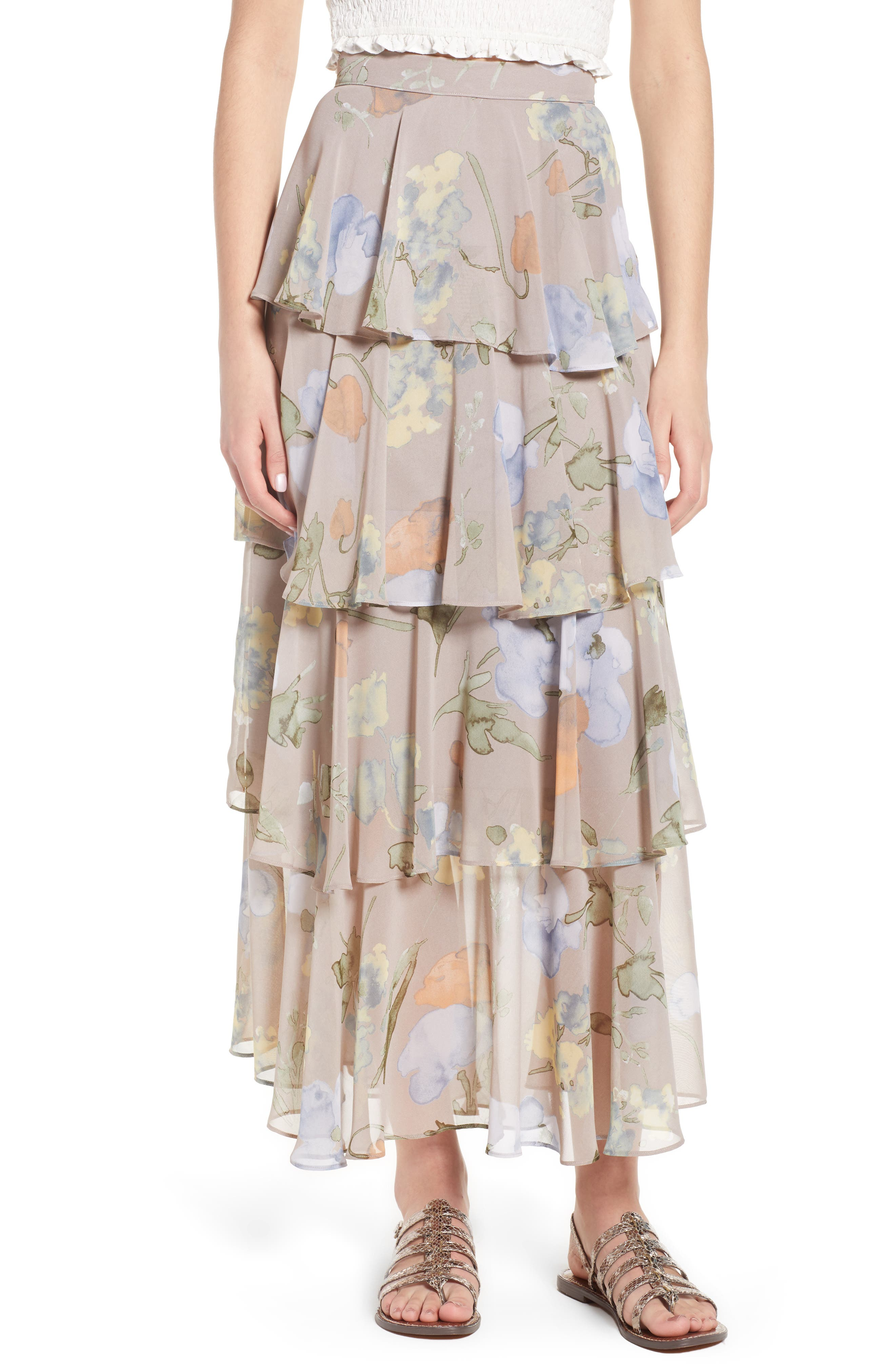 Clarita Floral Tiered Maxi Skirt,                         Main,                         color,