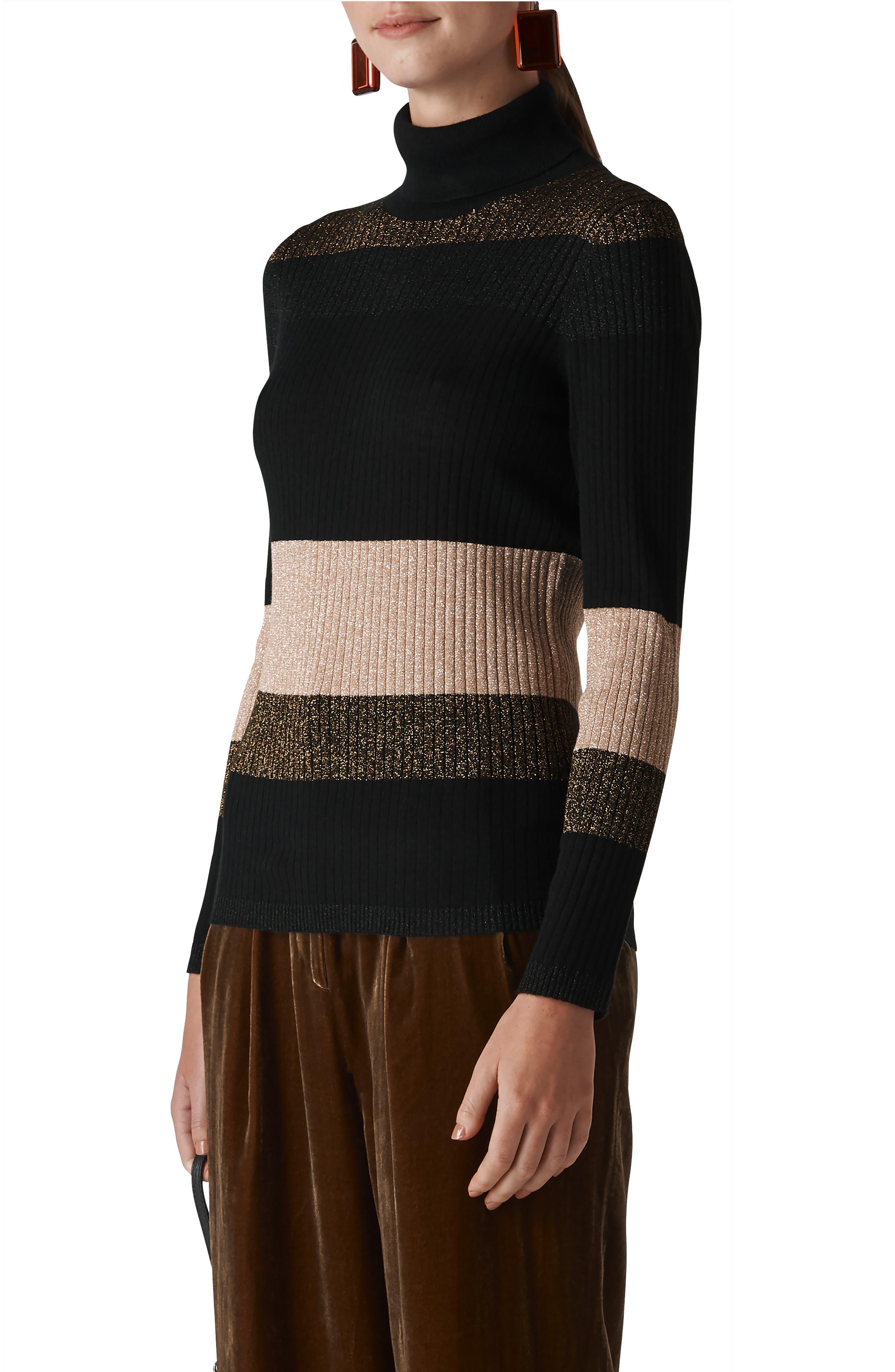 Wide Sparkle Stripe Sweater,                         Main,                         color, 001
