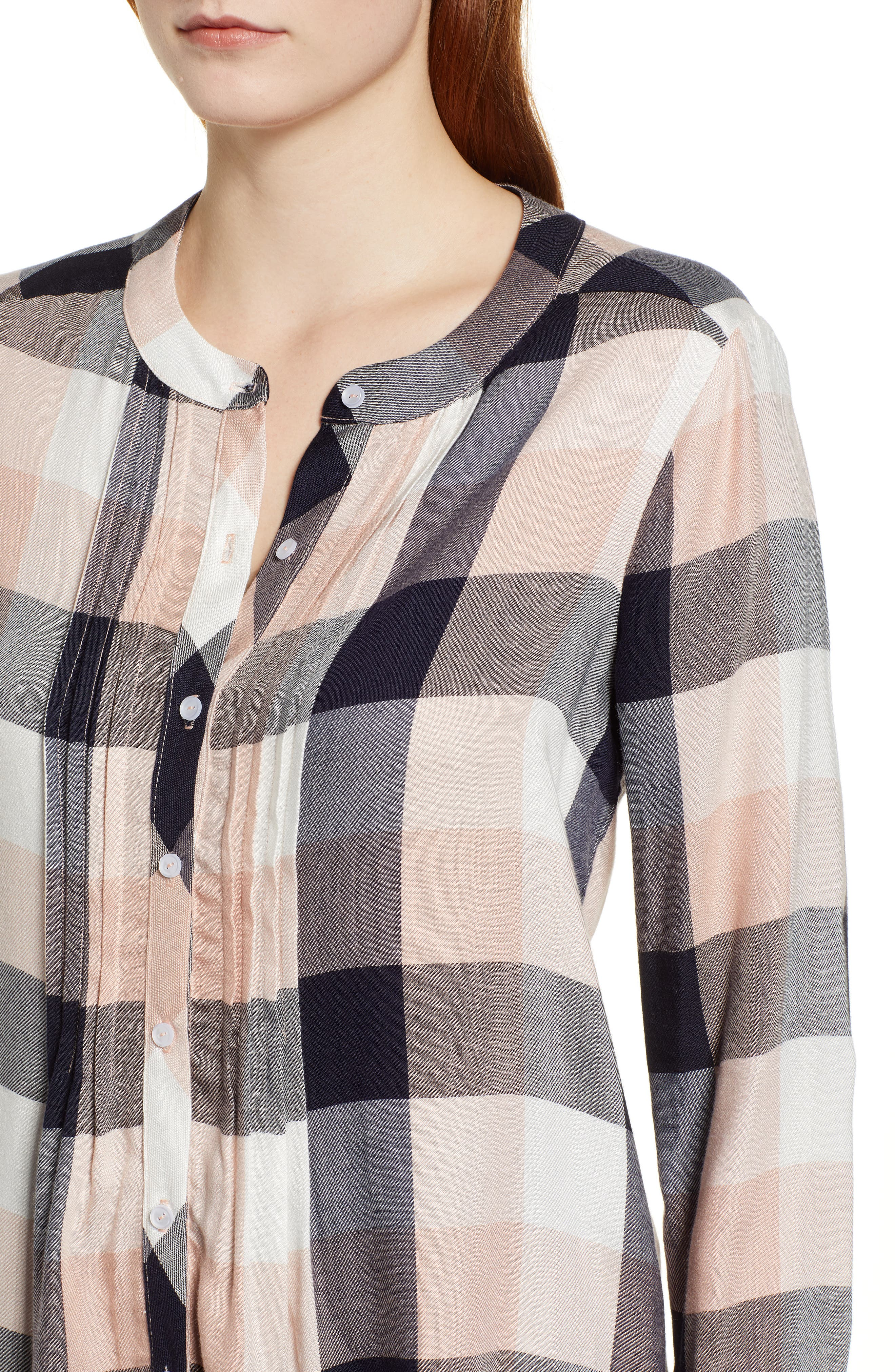 GIBSON,                             x Living in Yellow Ellen Brushed Check Shirt,                             Alternate thumbnail 4, color,                             452