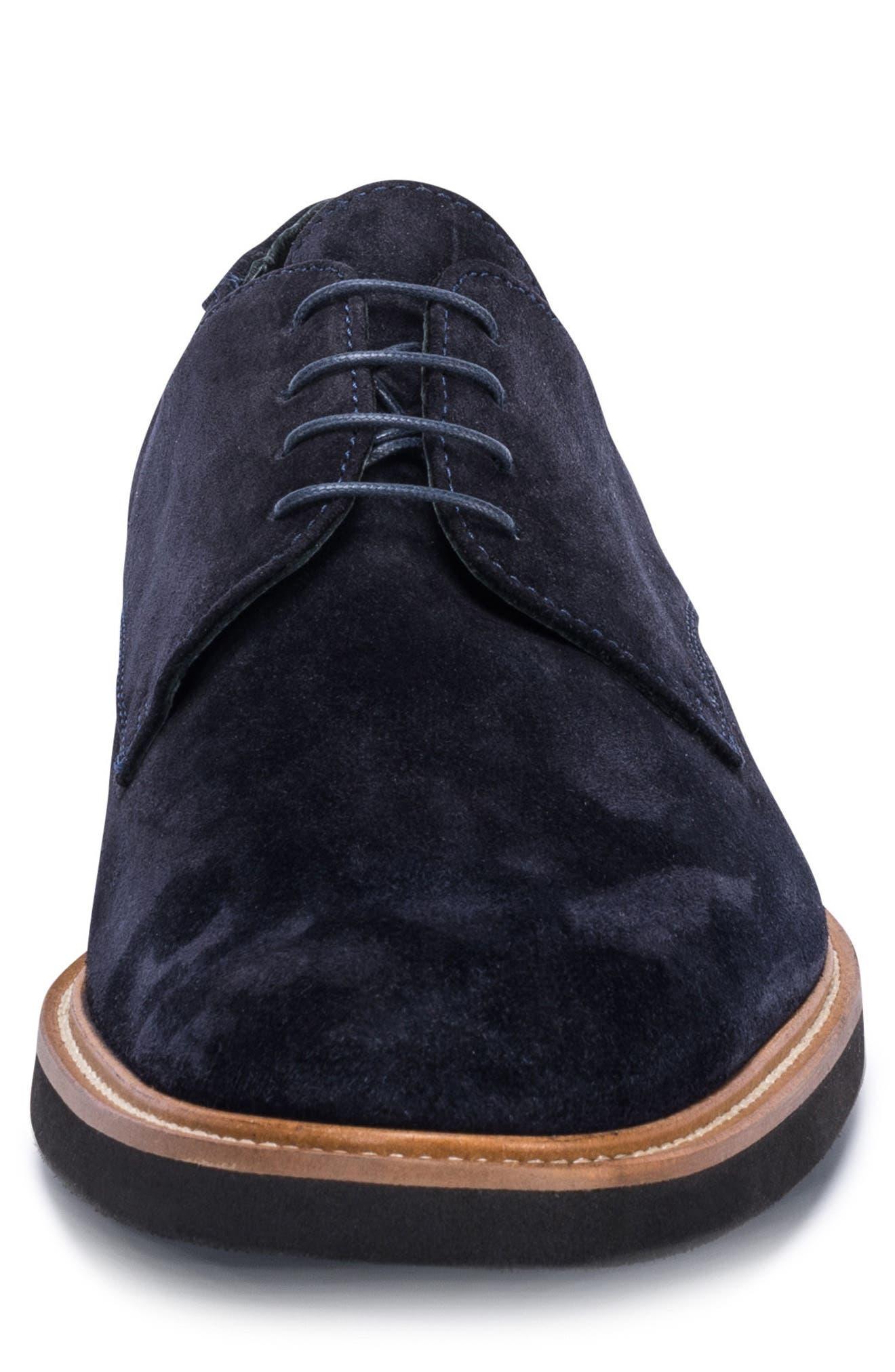 Siena Plain Toe Derby,                             Alternate thumbnail 4, color,                             BLUE SUEDE