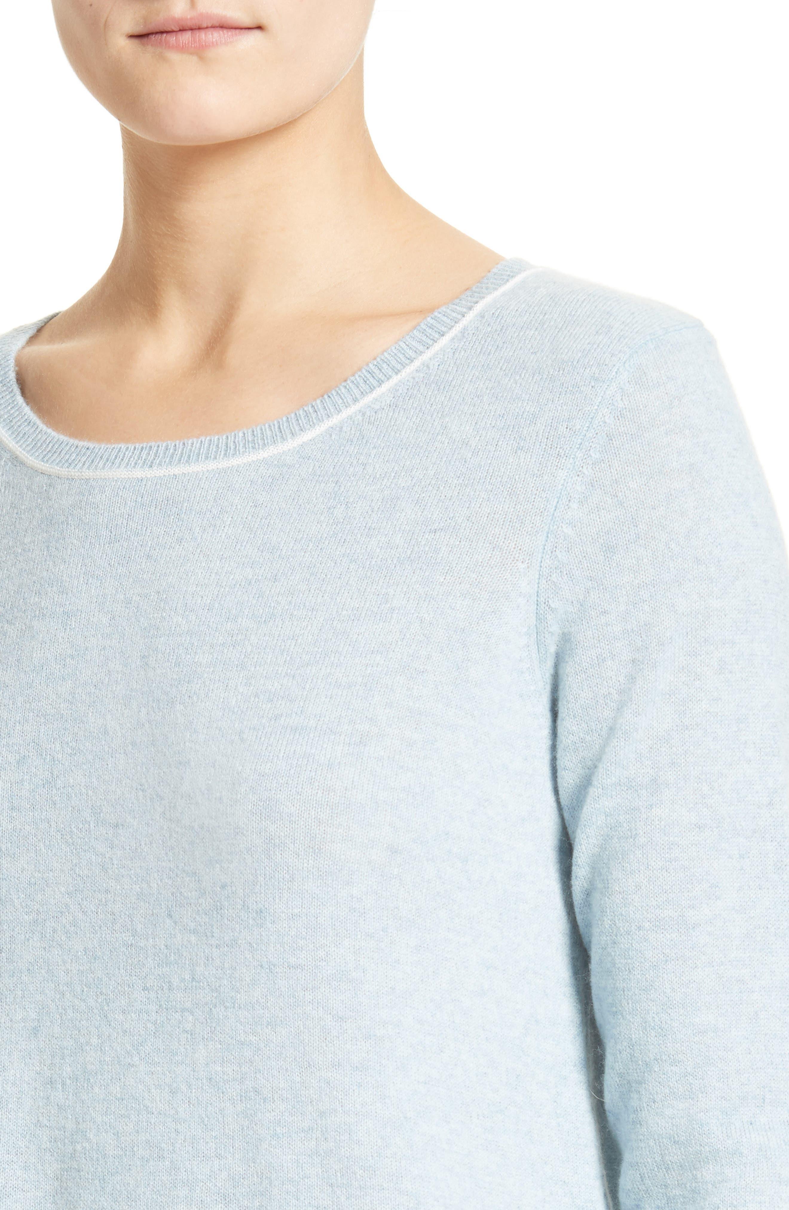 Tambrel H Asymmetrical Hem Cashmere Sweater,                             Alternate thumbnail 4, color,                             400
