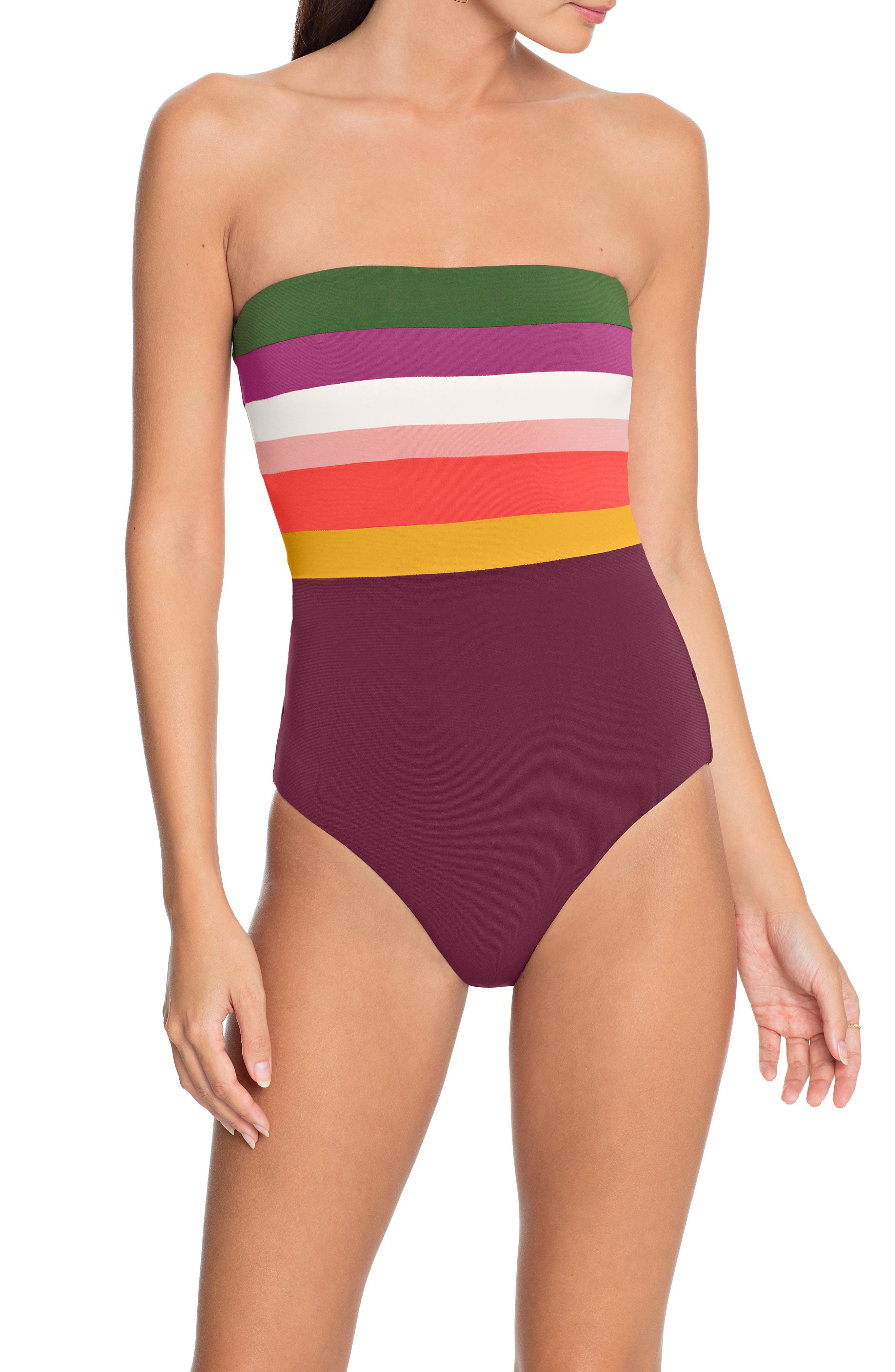 Robin Piccone One-Piece Bandeau Swimsuit, Pink