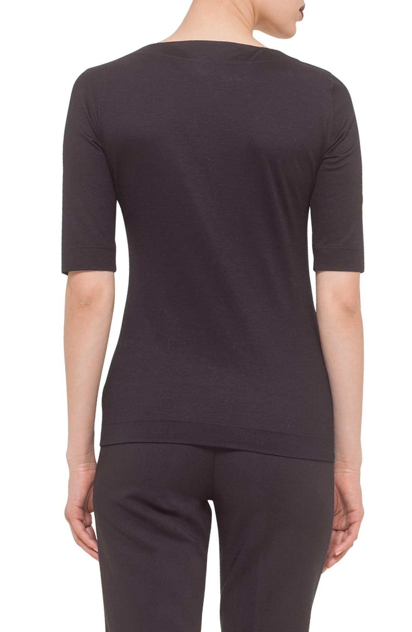 Square Neck Jersey Tee,                             Alternate thumbnail 2, color,                             BLACK