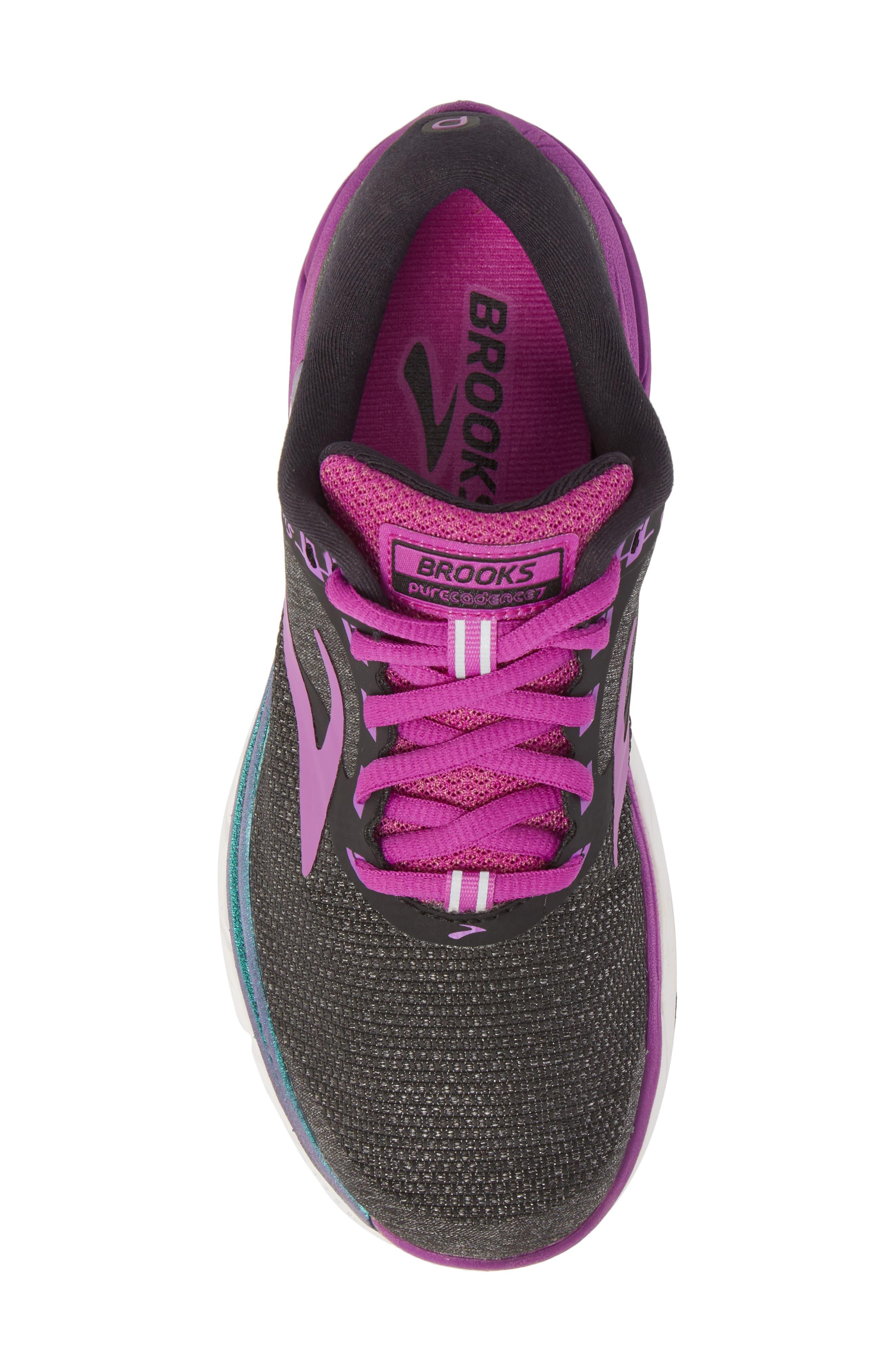 PureCadence 7 Road Running Shoe,                             Alternate thumbnail 5, color,                             BLACK/ PURPLE/ MULTI