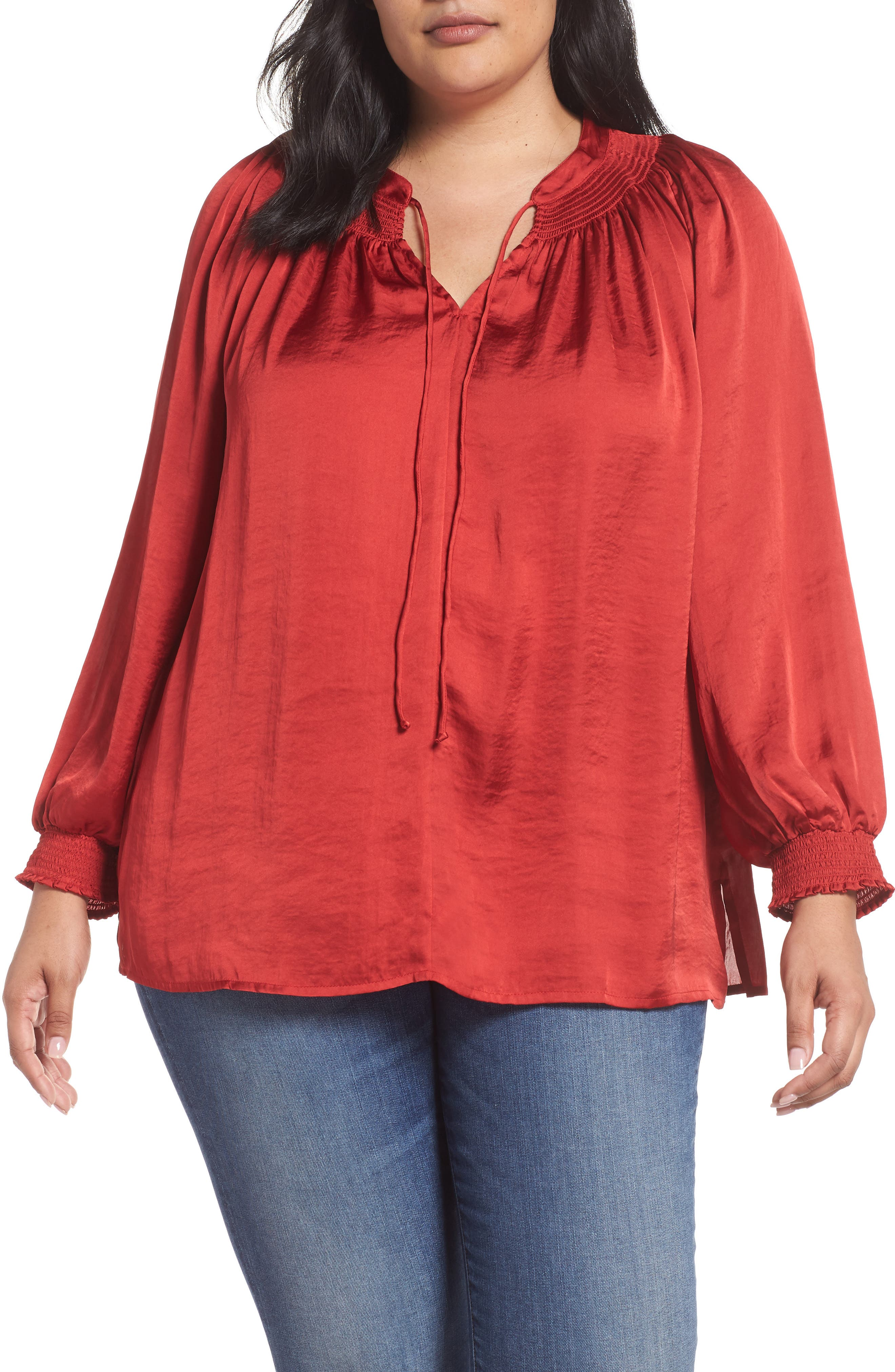 Satin Peasant Top,                         Main,                         color, 640