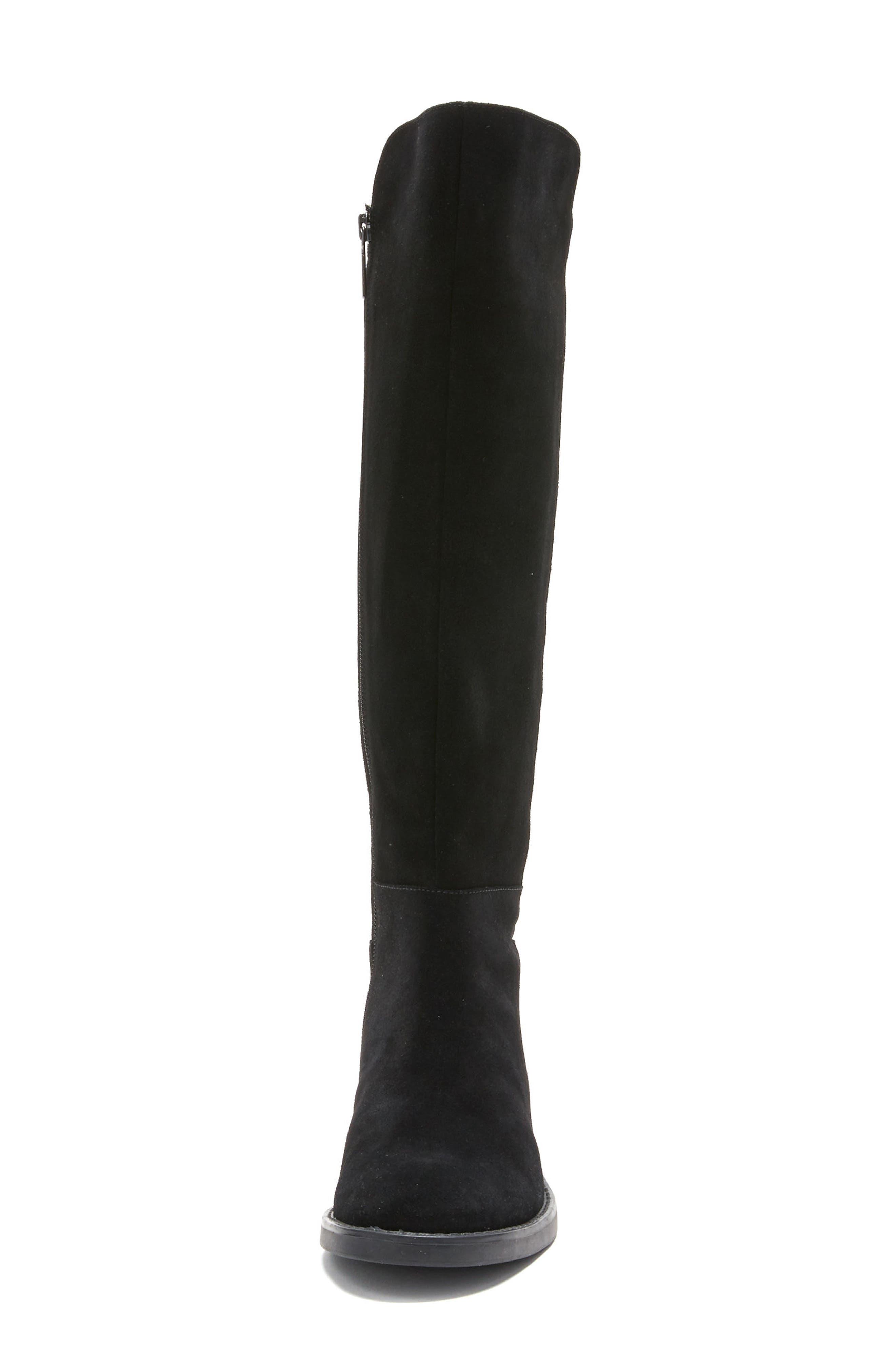Ellie Waterproof Knee High Riding Boot,                             Alternate thumbnail 4, color,                             BLACK SUEDE